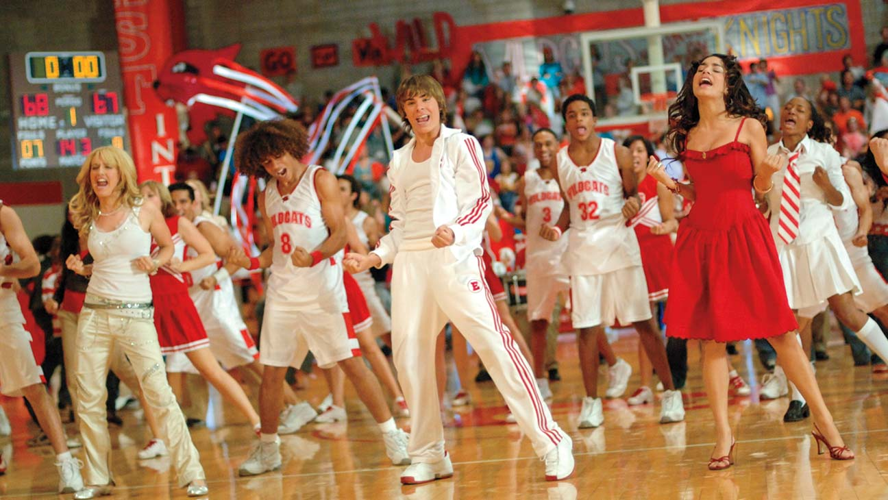 High School Musical cast singing on the basketball court