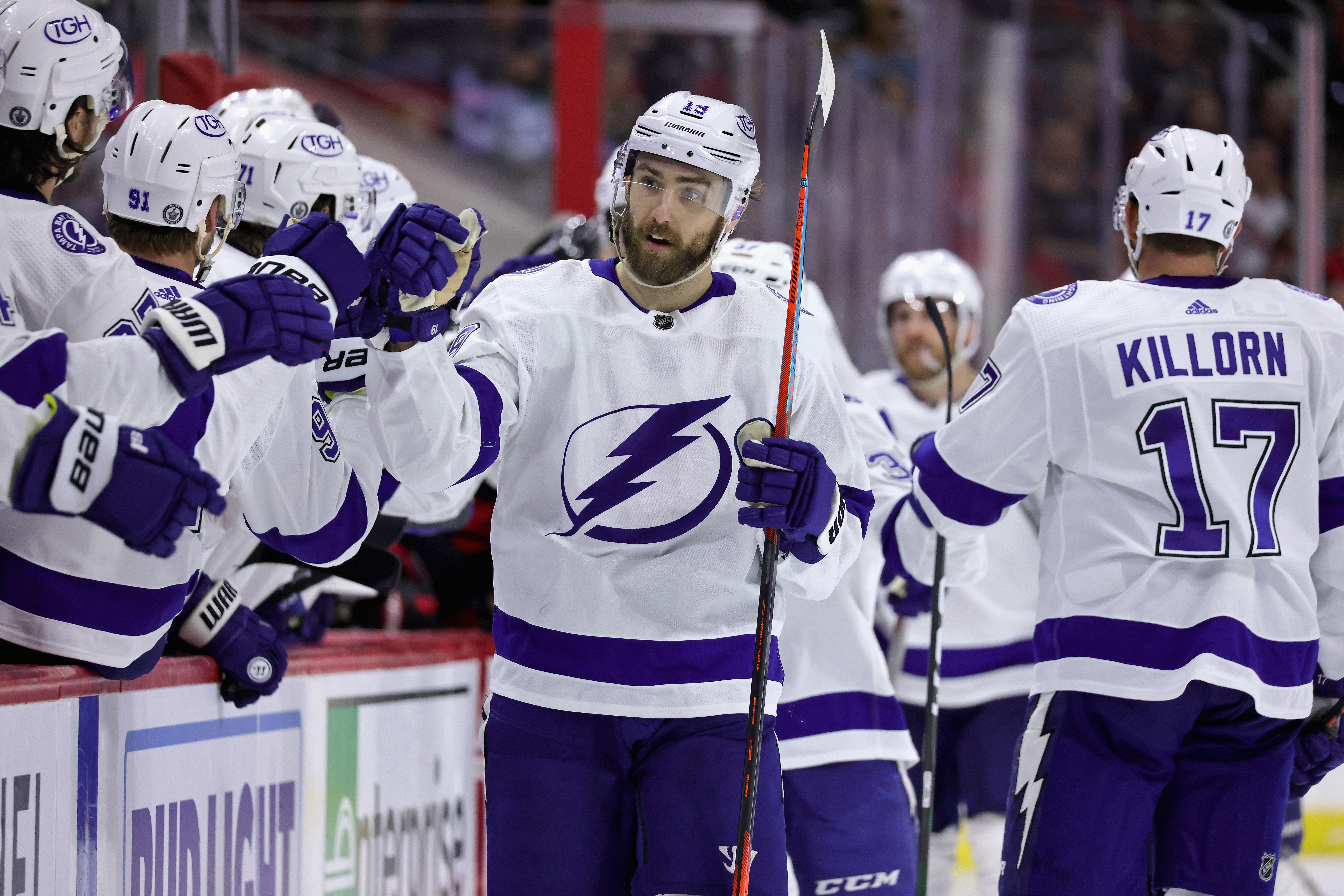 Barclay Goodrow #19 of the Tampa Bay Lightning skates to the bench after scoring a third period goal in Game One of the Second Round of the 2021 Stanley Cup Playoffs against the Carolina Hurricanes on May 30, 2021 at PNC Arena in Raleigh, North Carolina.