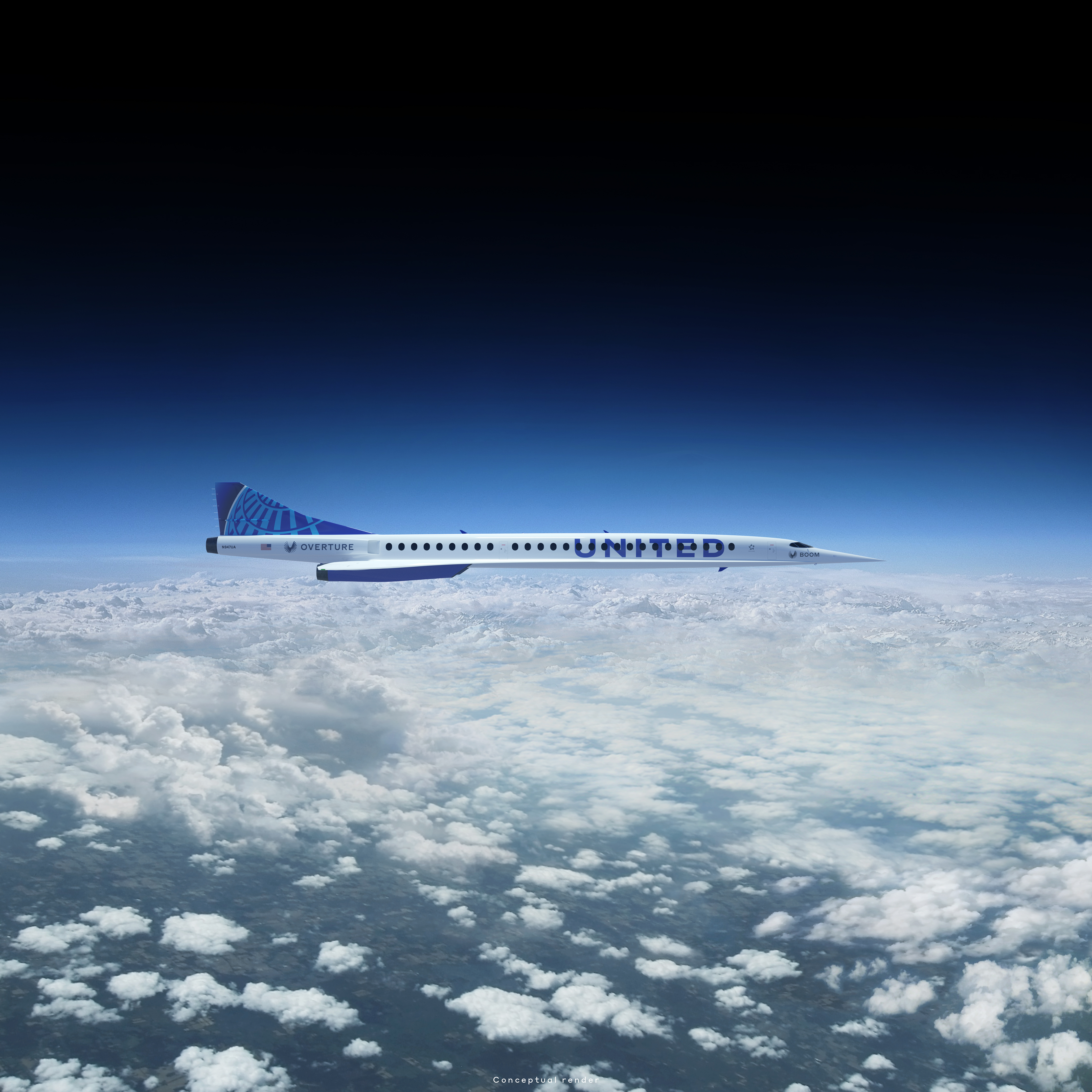 A United-branded supersonic jet flying over clouds.