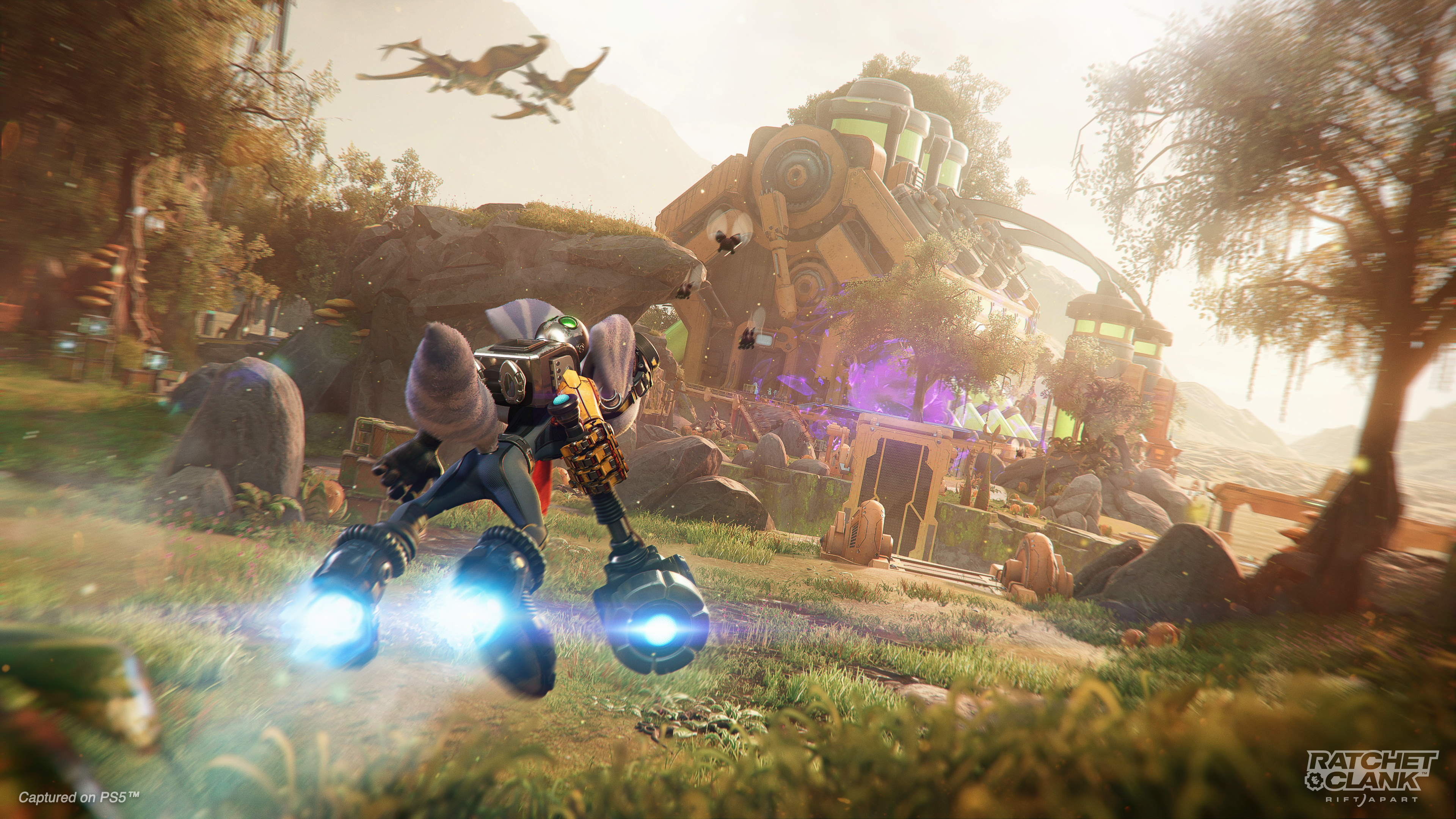 Rivet using Hoverboots in Ratchet & Clank: Rift Apart