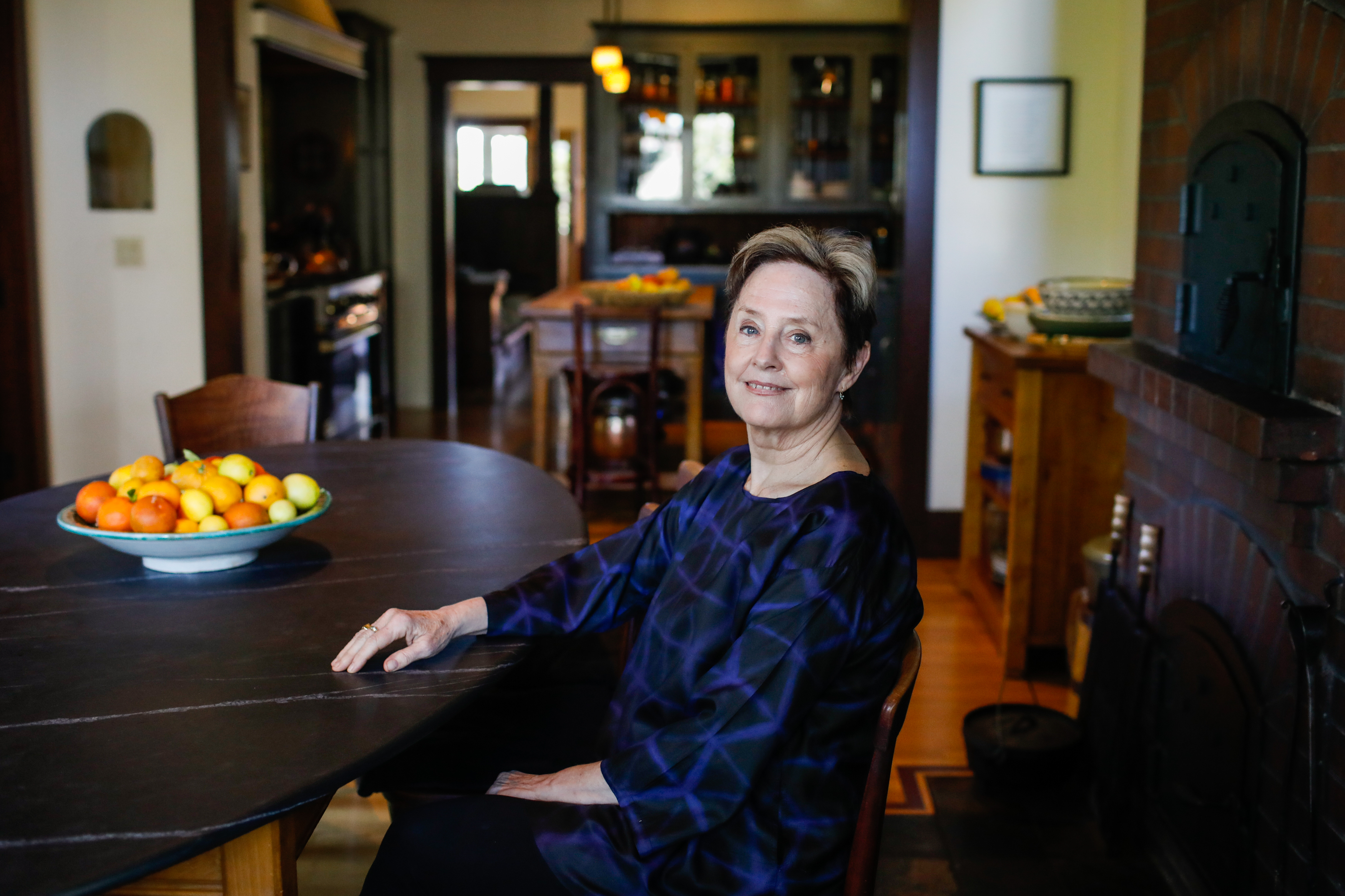 Alice Waters poses for a portrait at her home in Berkeley, California on Monday, March 2, 2020. Her daughter Fanny Singer has written new memoir which features recipes from her childhood titled ?Always Home: A Daughter's Recipes & Stories? will be release