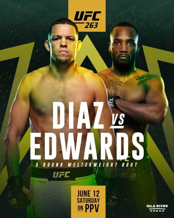 Nate Diaz vs. Leon Edwards poster for UFC 263: Adesanya vs. Vettori