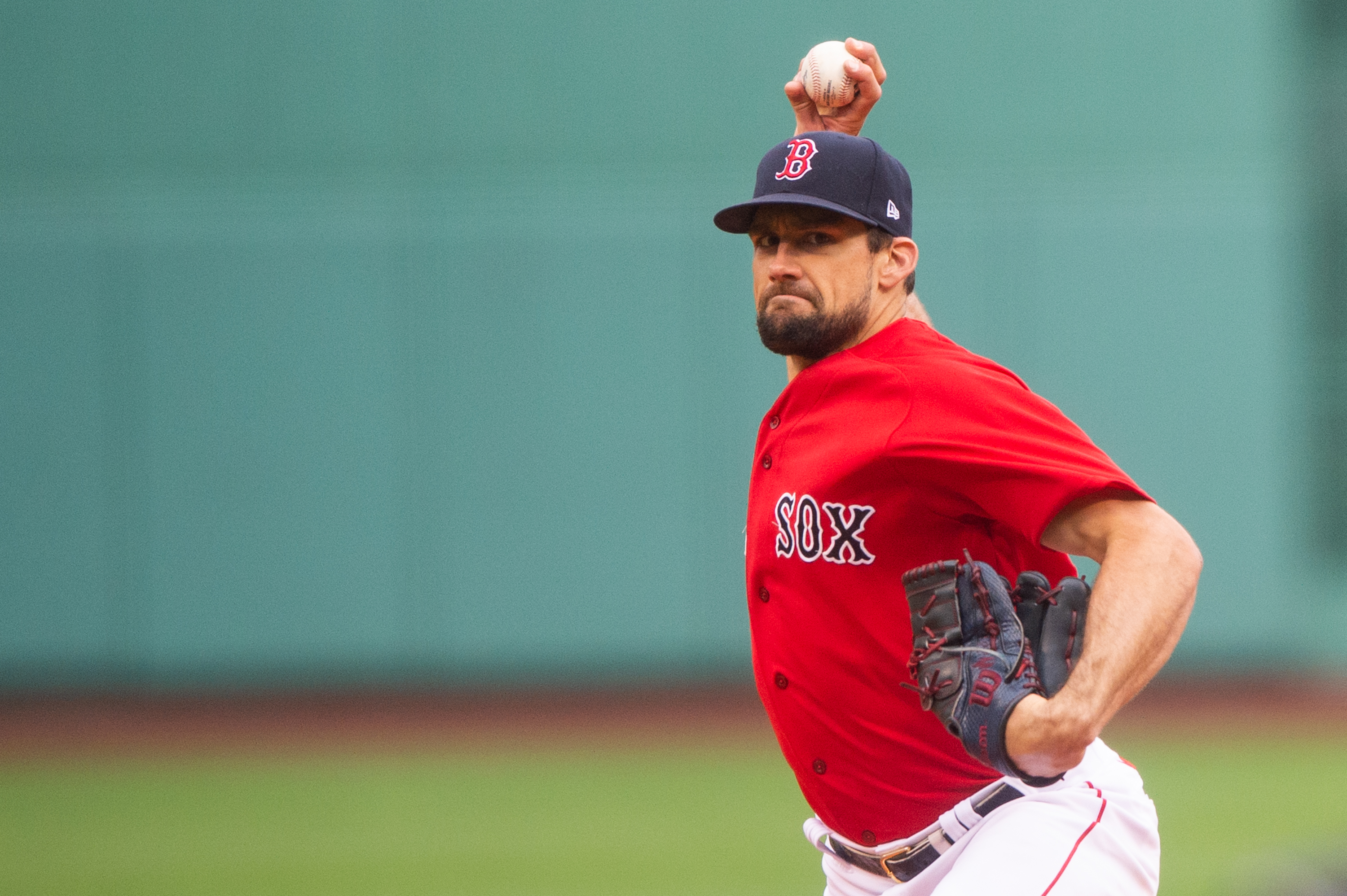 Nathan Eovaldi #17 of the Boston Red Sox pitches in the first inning against the Miami Marlins at Fenway Park on May 29, 2021 in Boston, Massachusetts.
