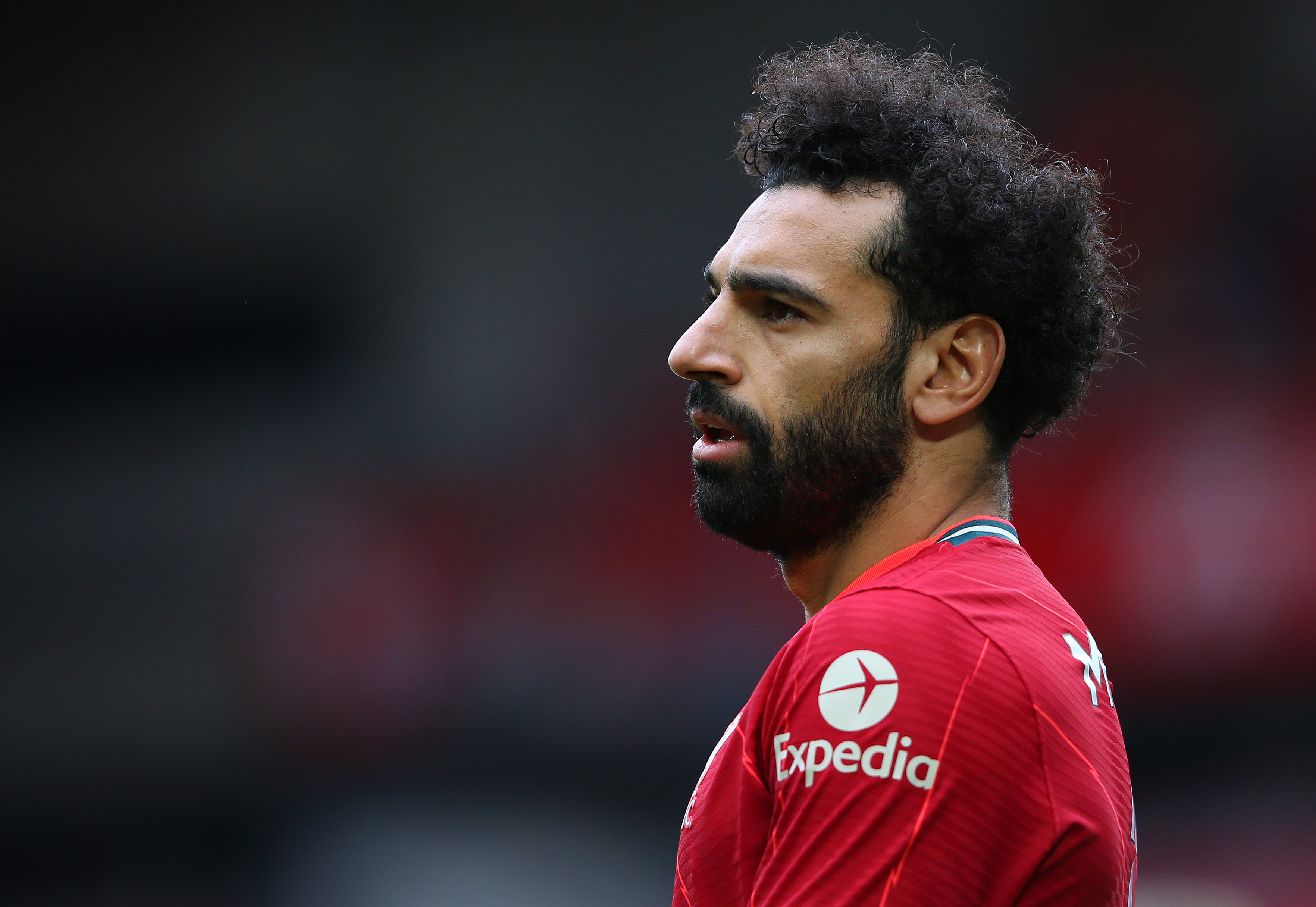 Mohamed Salah of Liverpool looks on during the Premier League match between Liverpool and Crystal Palace at Anfield on May 23, 2021 in Liverpool, England.