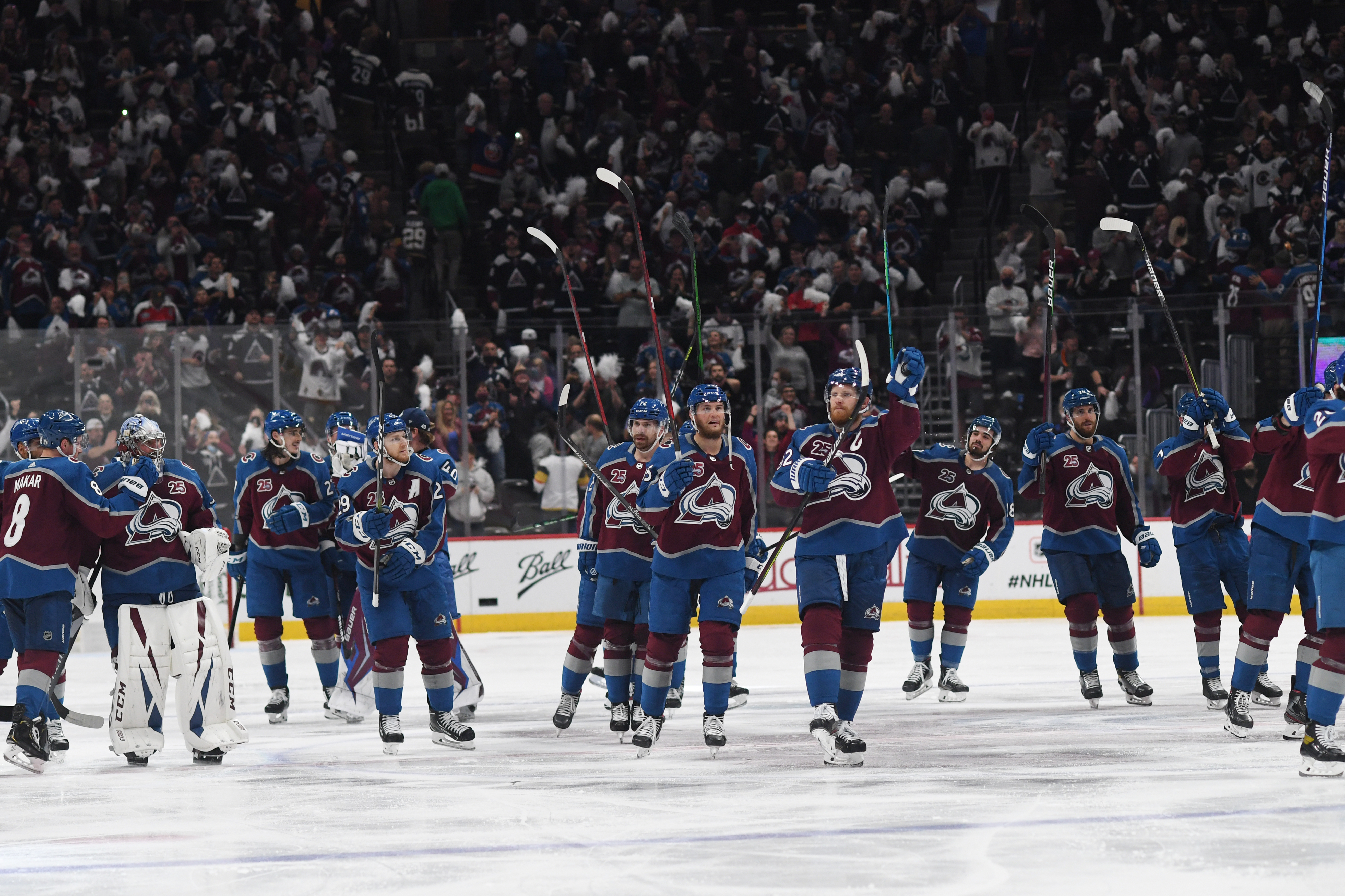 The Colorado Avalanche celebrate a game winning goal during the OT of game 2 in the second round of the Stanley Cup Playoff series on June 2, 2021 in Denver, Colorado. Colorado Avalanche, at home in Ball Arena, took on the Vegas Golden Knights.