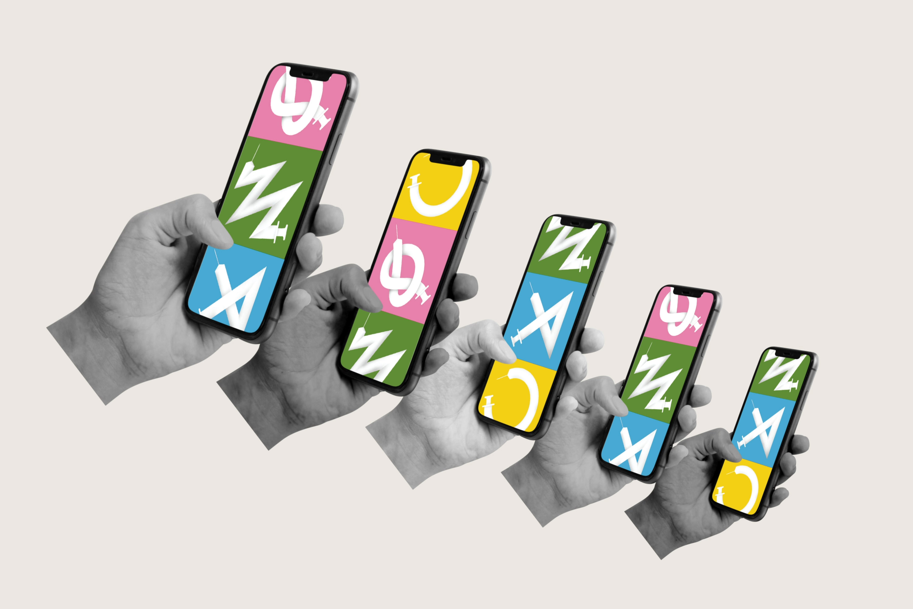 An illustration of five hands, each scrolling through images of syringes twisted out of shape on mobile phones.
