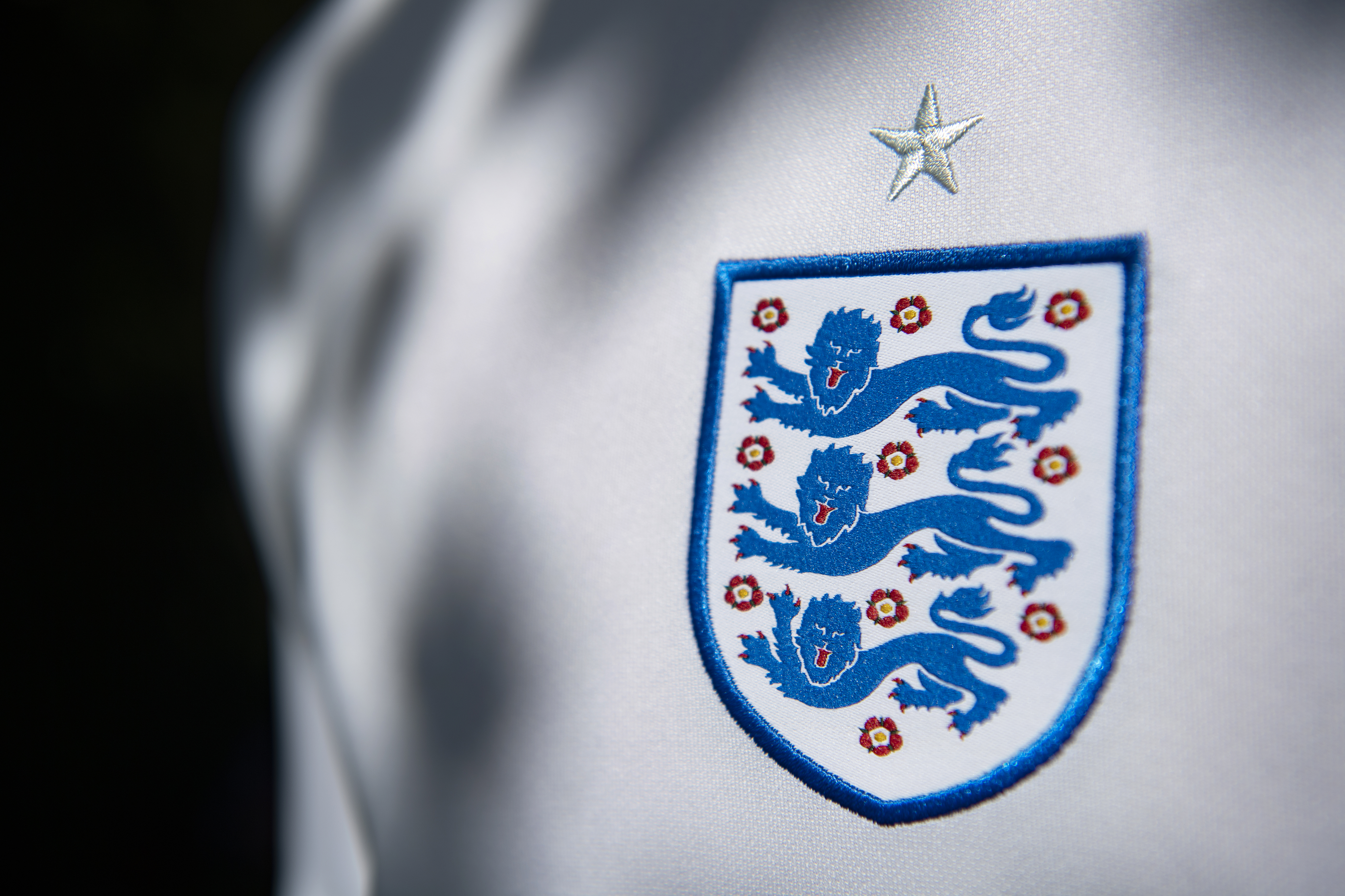 The England International Badge showing the three lions on their home shirt - Euro 2020