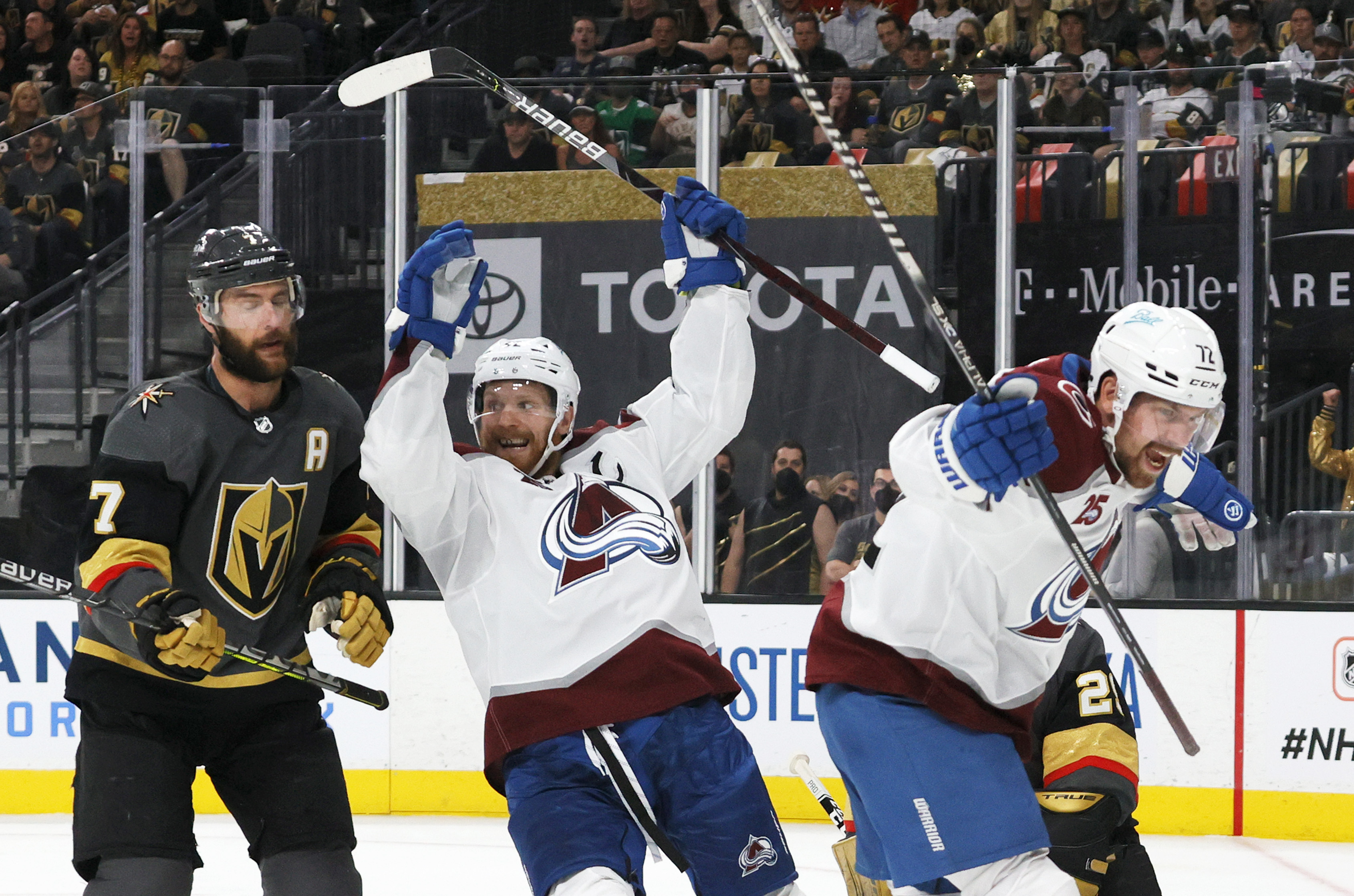 Alex Pietrangelo #7 of the Vegas Golden Knights and Gabriel Landeskog #92 and Joonas Donskoi #72 of the Colorado Avalanche react after Mikko Rantanen #96 of the Avalanche scored a third-period power-play goal against the Golden Knights in Game Three of the Second Round of the 2021 Stanley Cup Playoffs at T-Mobile Arena on June 4, 2021 in Las Vegas, Nevada. The Golden Knights defeated the Avalanche 3-2.
