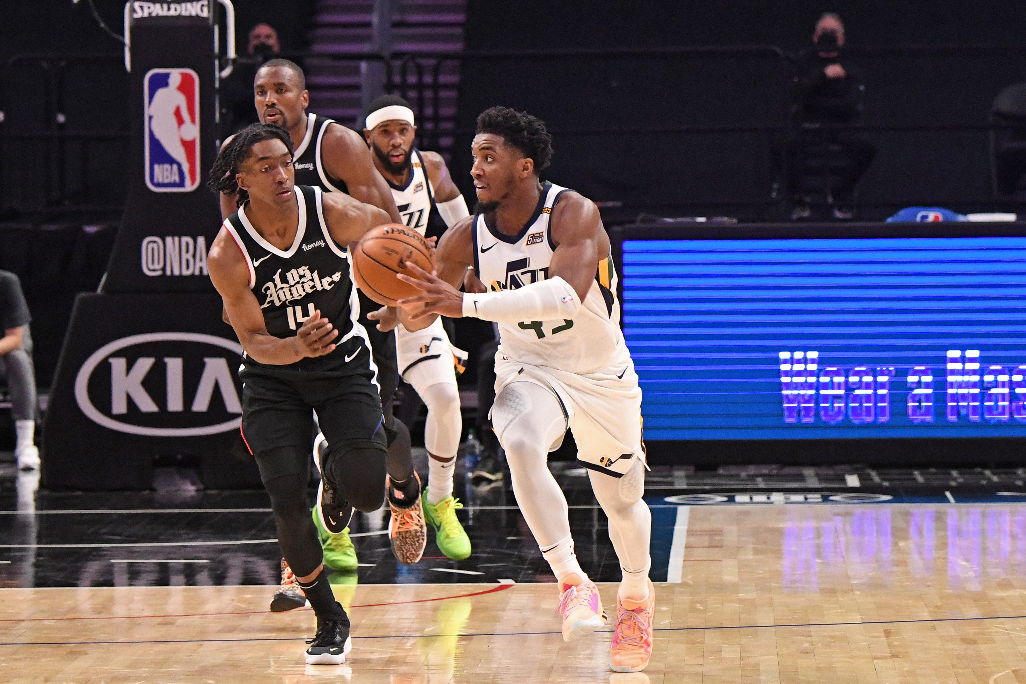 Donovan Mitchell of the Utah Jazz handles the ball during the game against the LA Clippers on February 19, 2021 at STAPLES Center in Los Angeles, California.