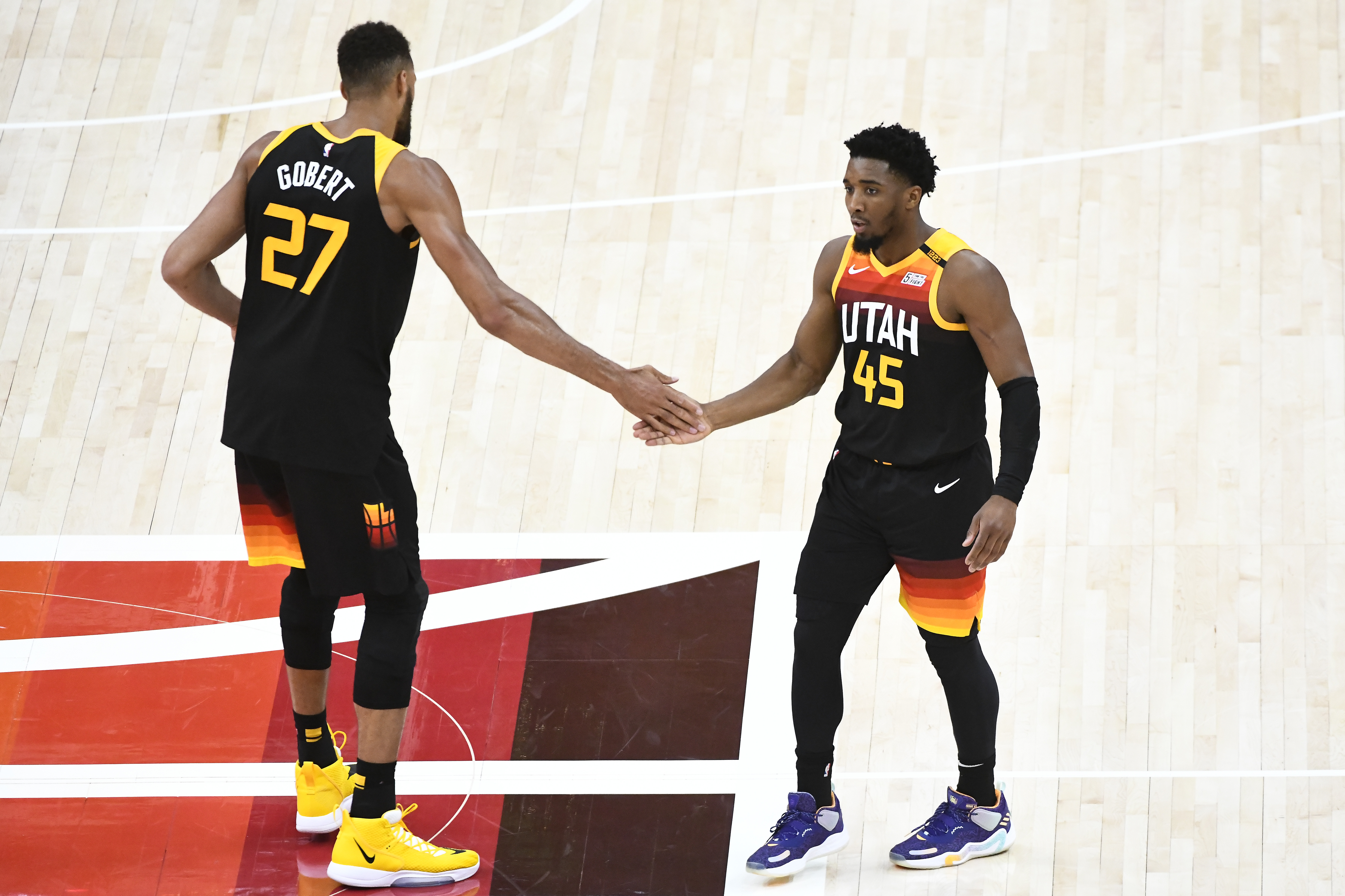 Donovan Mitchell of the Utah Jazz in action with Rudy Gobert in Game Five of the Western Conference first-round playoff series against the Memphis Grizzlies at Vivint Smart Home Arena on June 2, 2021 in Salt Lake City, Utah.
