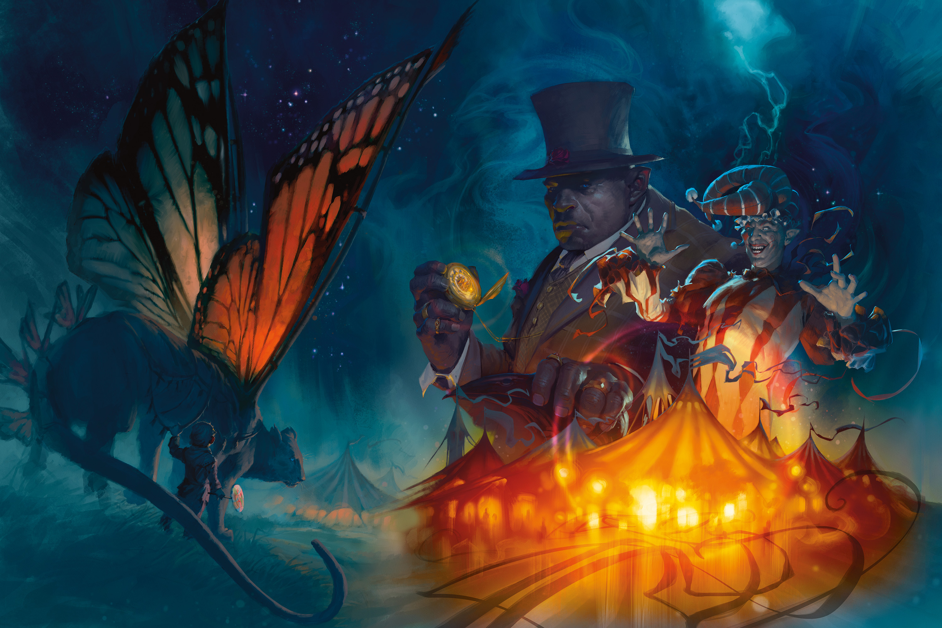 A feline creature with the wings of a butterfly looks on as a spectral circus looms in the night. An orc in a top hat with a pocket watch stands next to a clown.