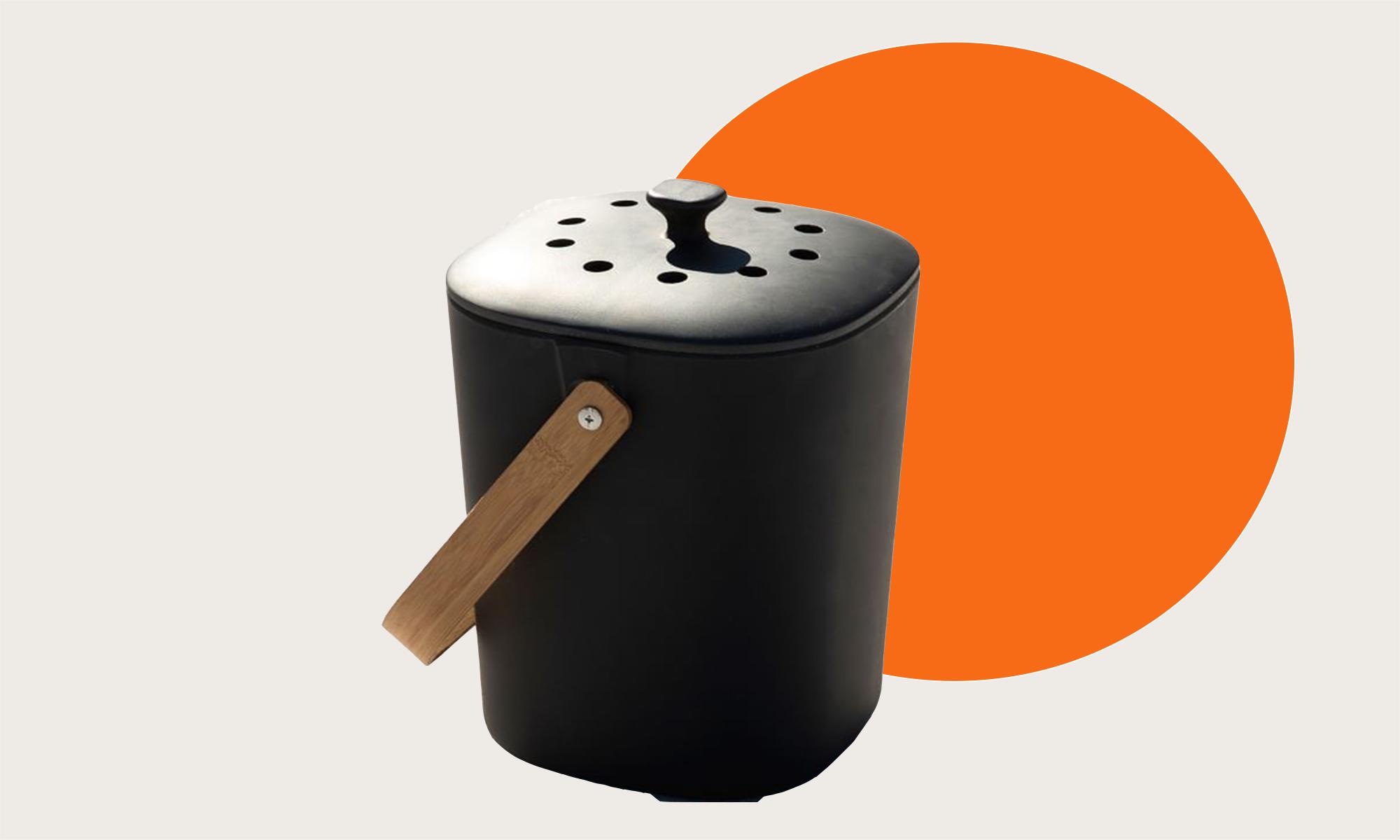 A black compost bin