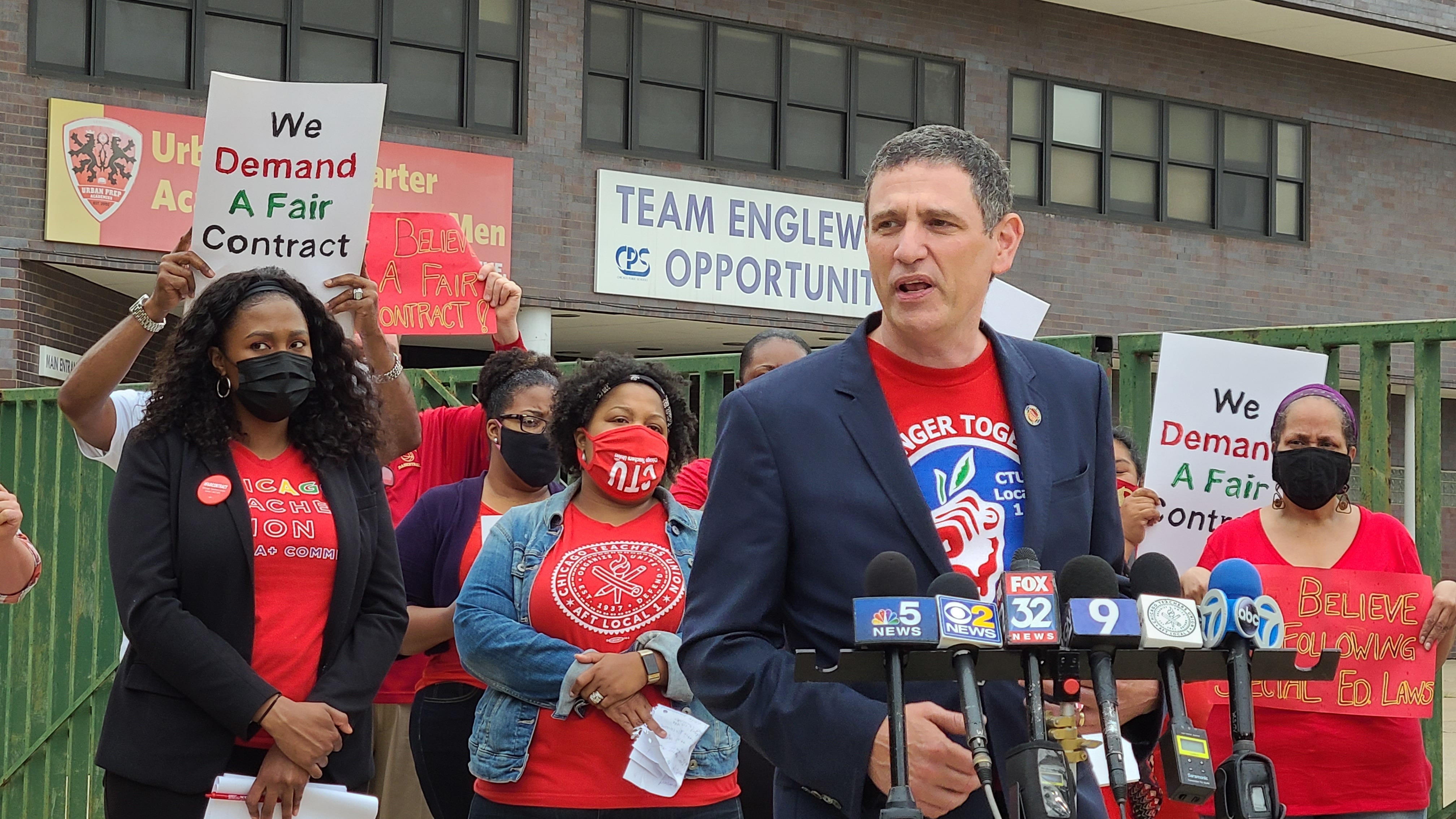 Chicago Teachers Union President Jesse Sharkey, speaks to reporters outside Urban Prep Academy's Englewood campus,6201 S. Stewart Ave., Monday morning.