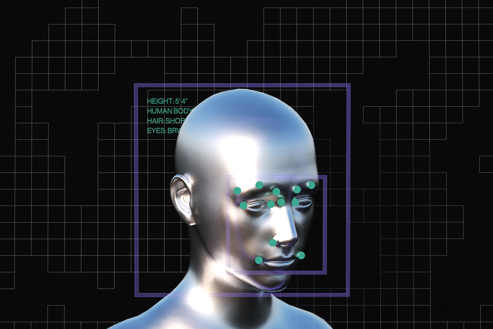 An illustration of a metallic face with illustrative facial tracking points over it.