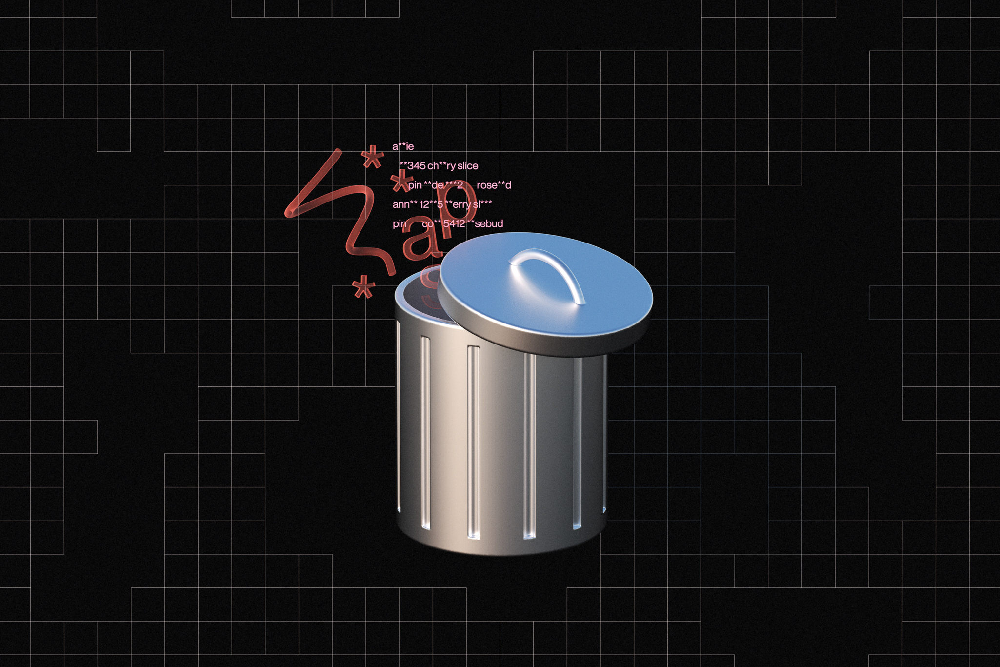 An illustration of personal information in the form of pins and passwords leaking out of a trashcan.