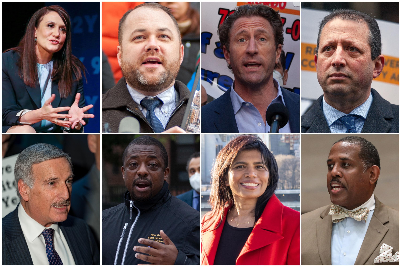 Democratic city comptroller candidates, clockwise, starting upper left: Michelle Caruso-Cabrera, Corey Johnson, Zach Iscol, Brad Lander, Kevin Parker, Reshma Patel, Brian Benjamin and David Weprin.