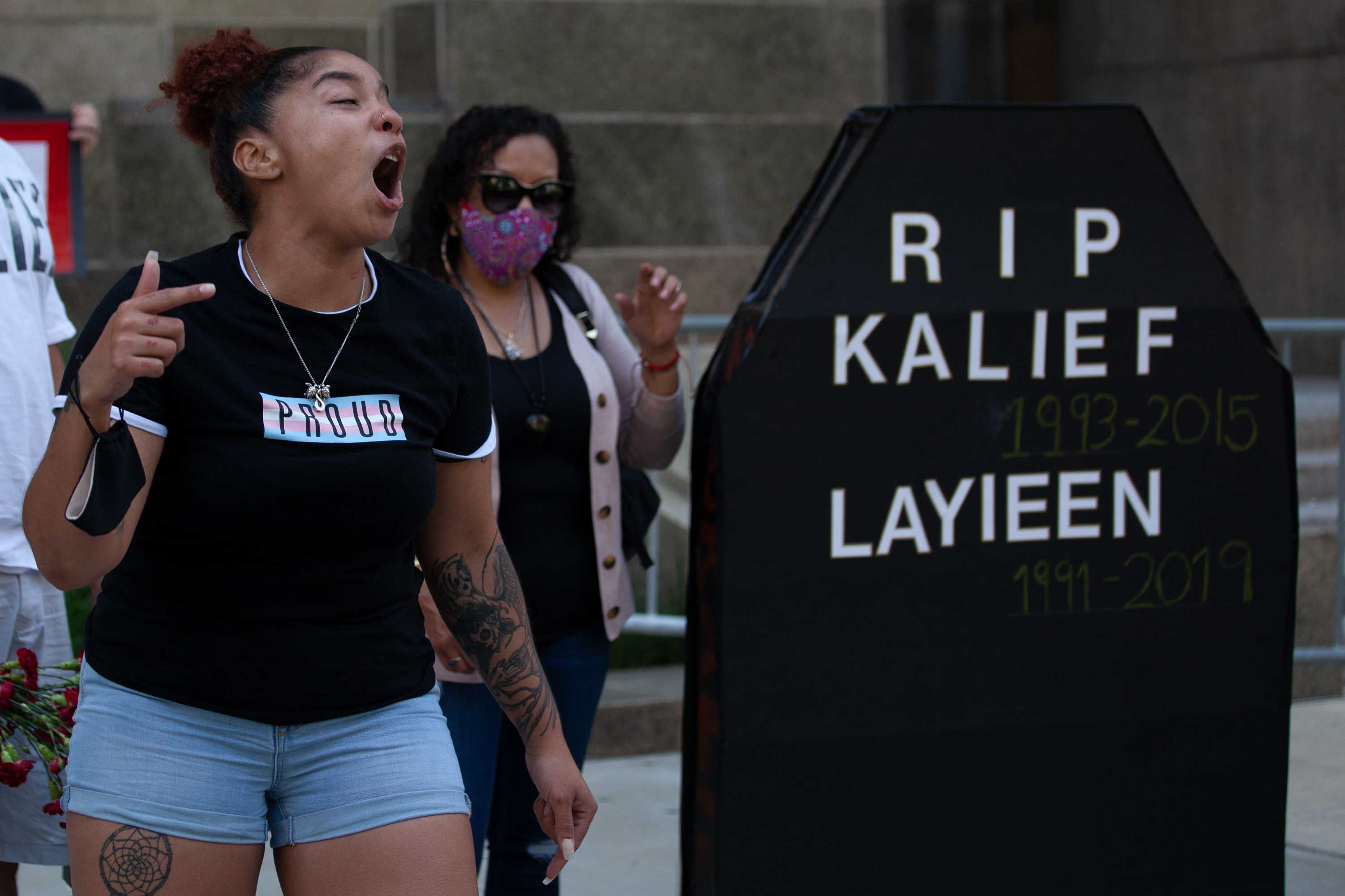 Melania Brown blasts Mayoral Bill de Blasio for failing to end solitary confinement during a protest march from Manhattan Criminal Court on the two-year anniversary of her sister Layleen Polanco's death, June 7, 2021.