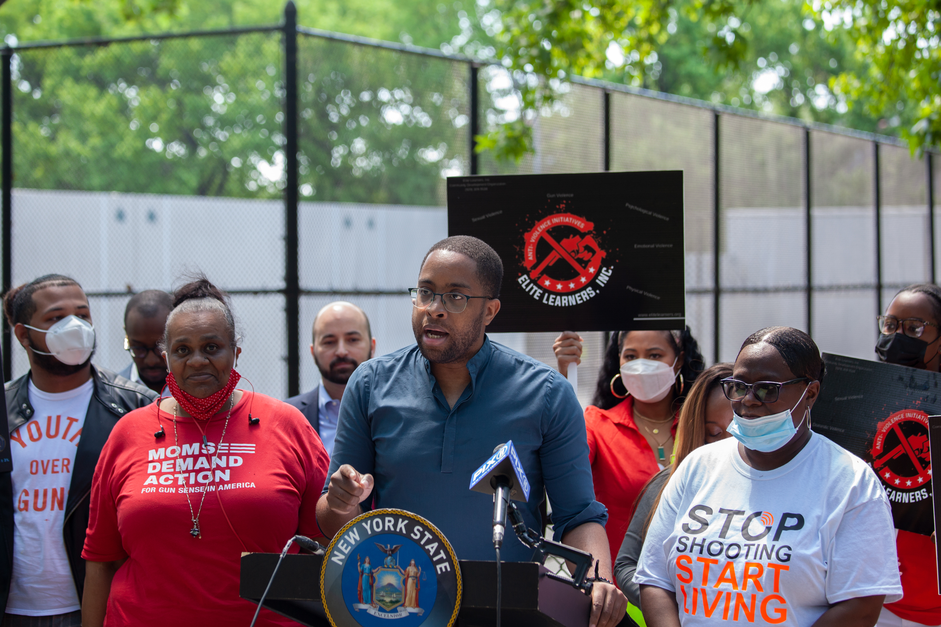 State Senator Zellnor Myrie (D-Brooklyn) speaks in Crown Heights about holding gun manufacturers accountable for enabling weapons to enter New York, May 27, 2021.