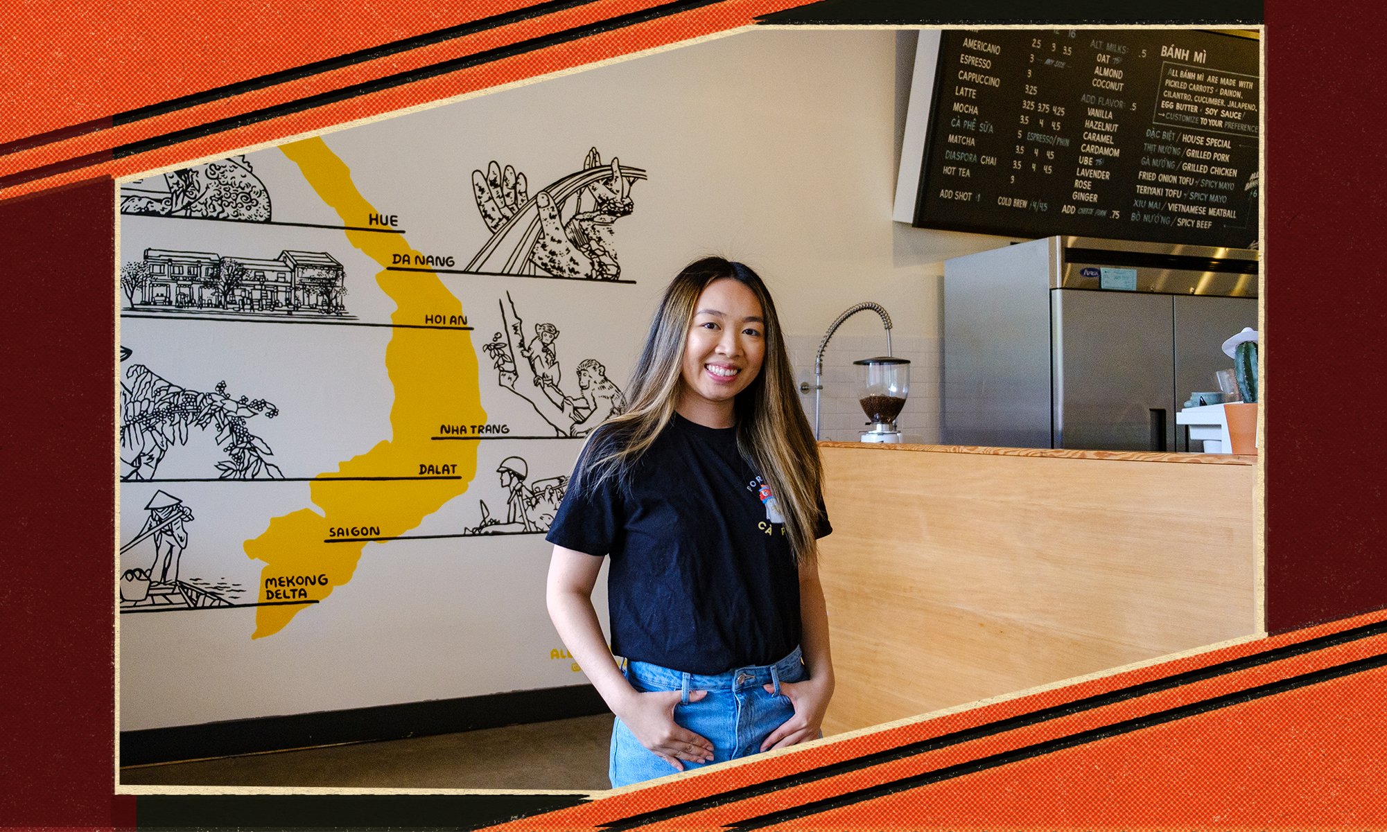 A woman with long hair stands in front of a map of Vietnam, with a coffee grinder in the background. She's standing in the space home to Portland Ca Phe.