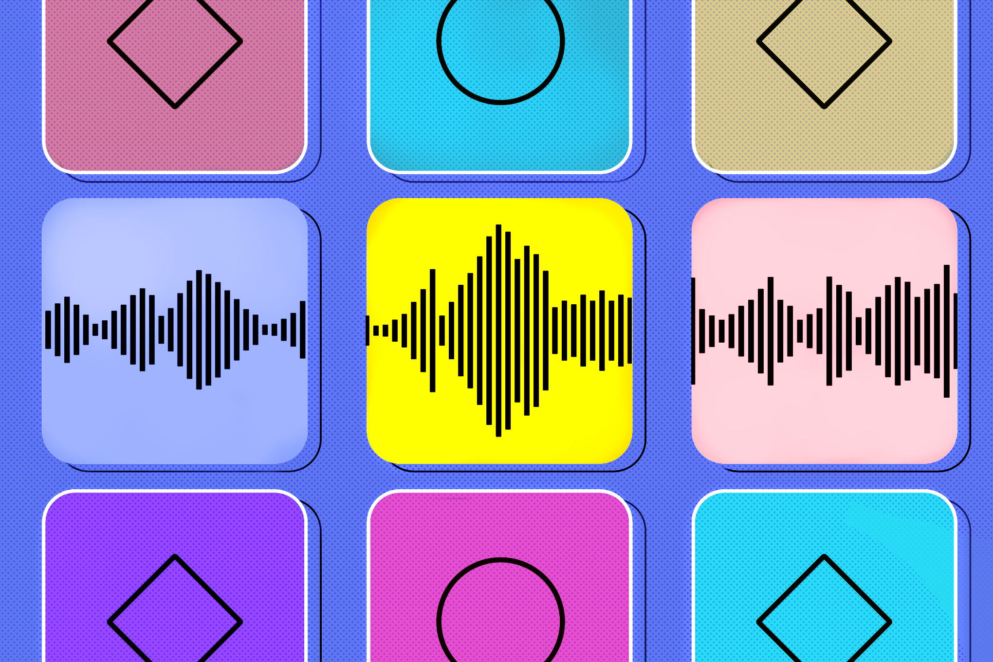 Nine colorful squares on a pale blue background. The middle row of squares have audio waveforms in them.