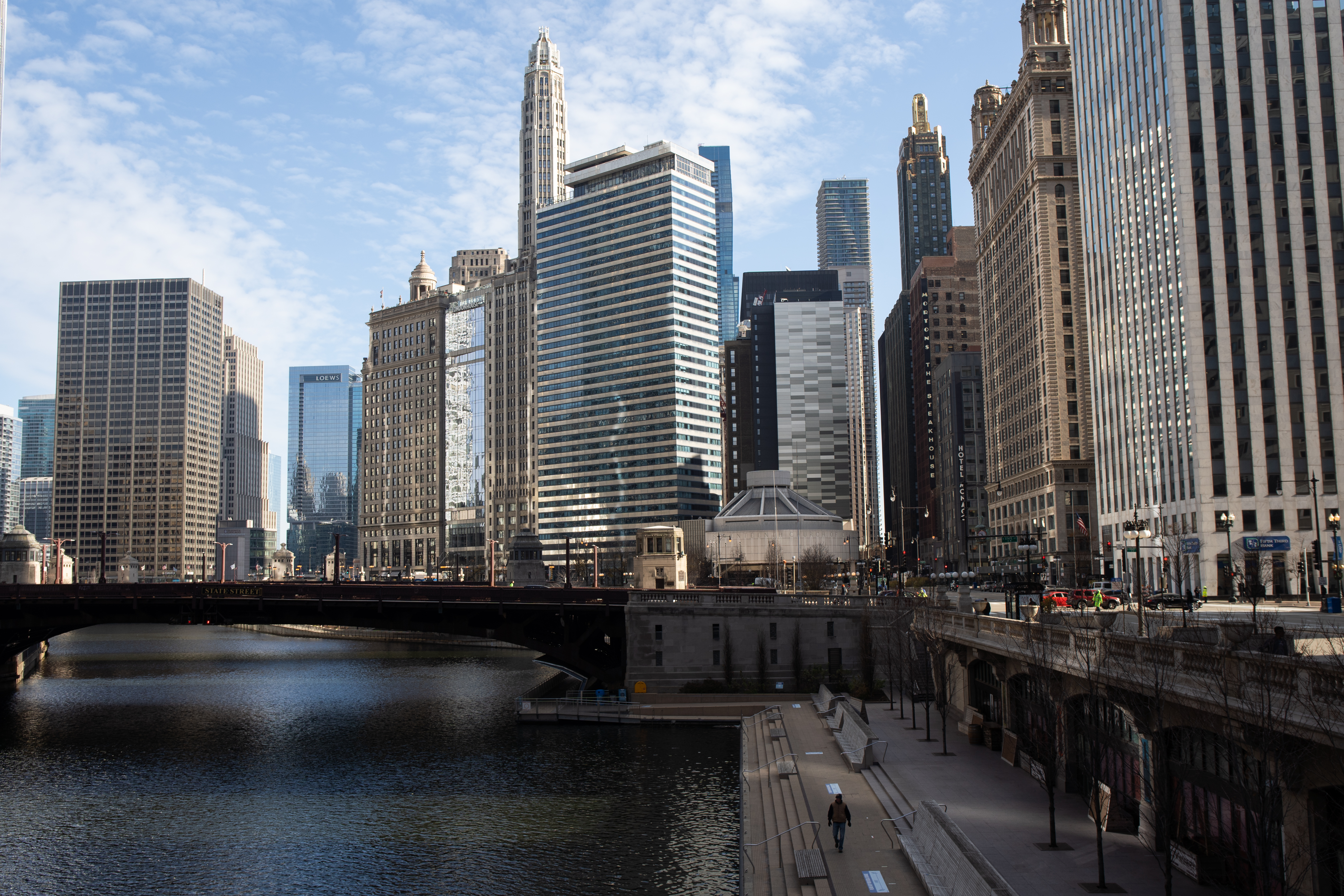 Chicago's Riverwalk in the Loop.