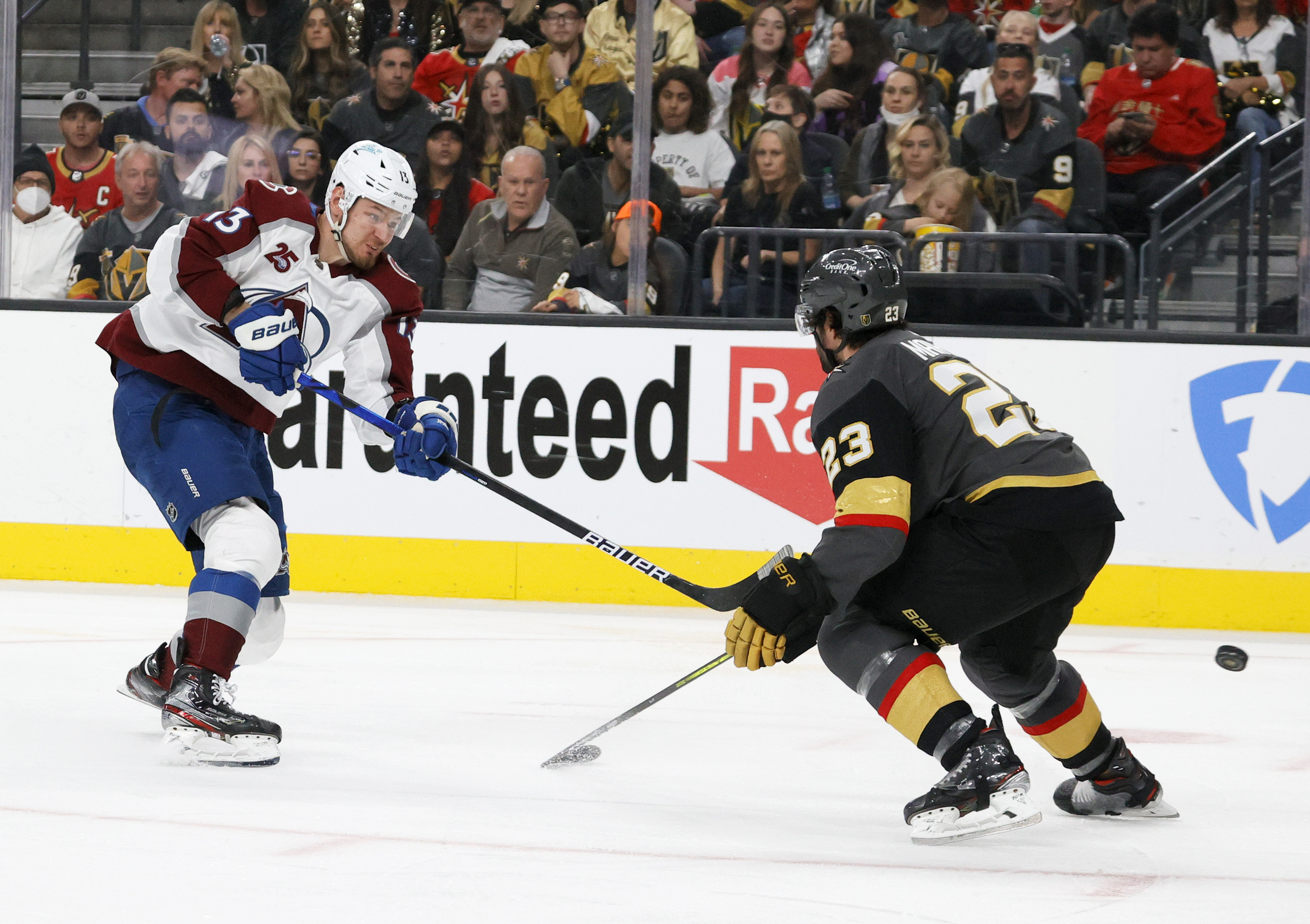 Valeri Nichushkin #13 of the Colorado Avalanche shoots against Alec Martinez #23 of the Vegas Golden Knights in the third period in Game Four of the Second Round of the 2021 Stanley Cup Playoffs at T-Mobile Arena on June 6, 2021 in Las Vegas, Nevada. The Golden Knights defeated the Avalanche 5-1.
