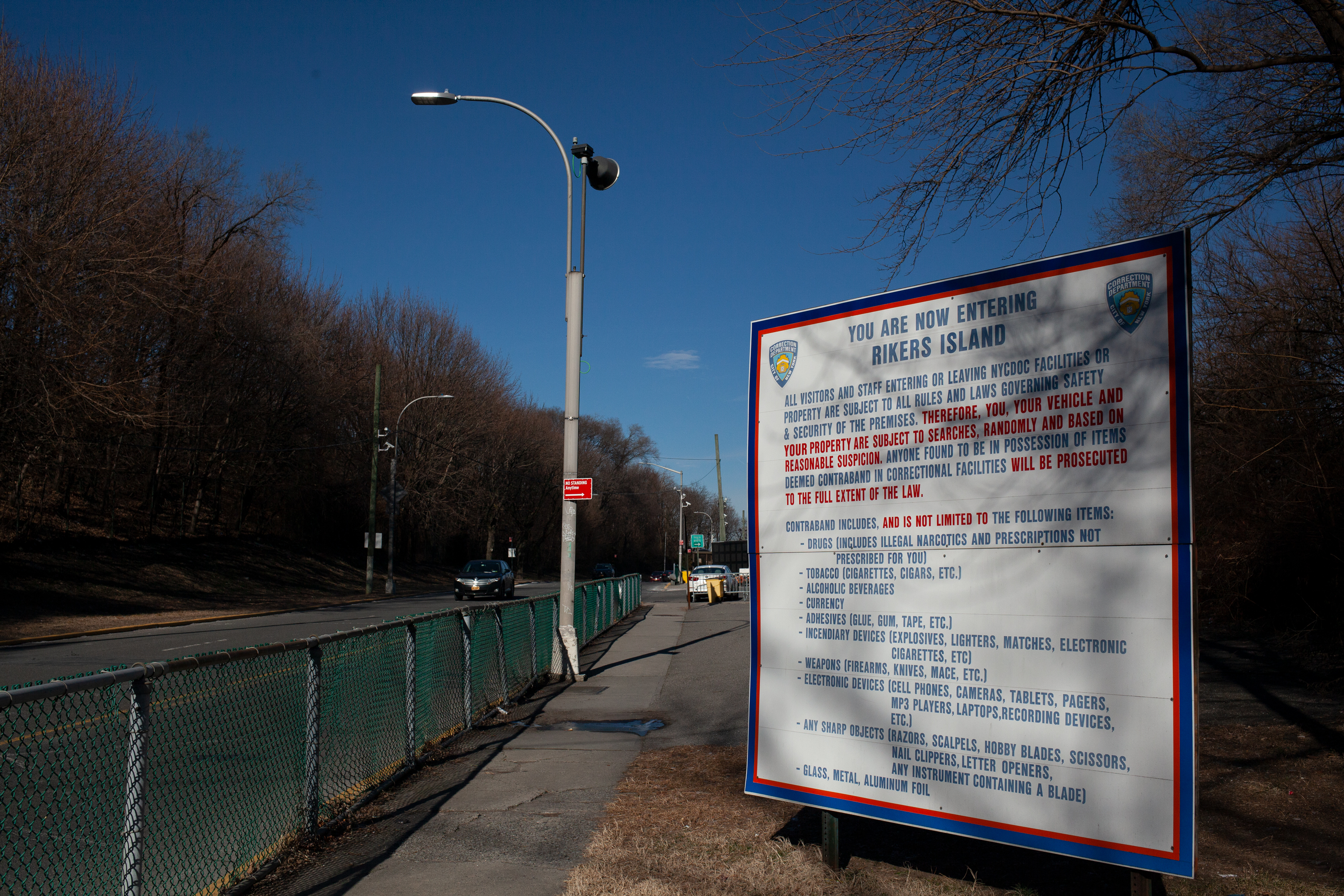 A sign at the entrance to Rikers Island warns about the strict policies for entering the jail complex, Jan. 22, 2019.