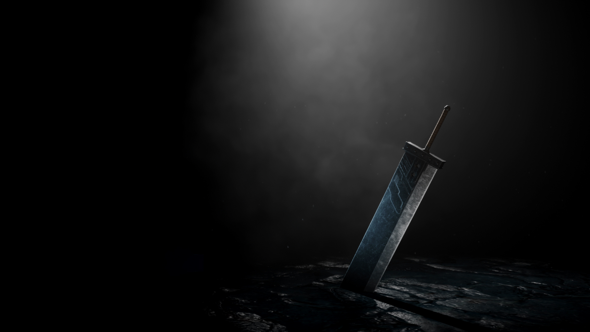 The Buster Sword sits upright with a spotlight hitting it in darkness
