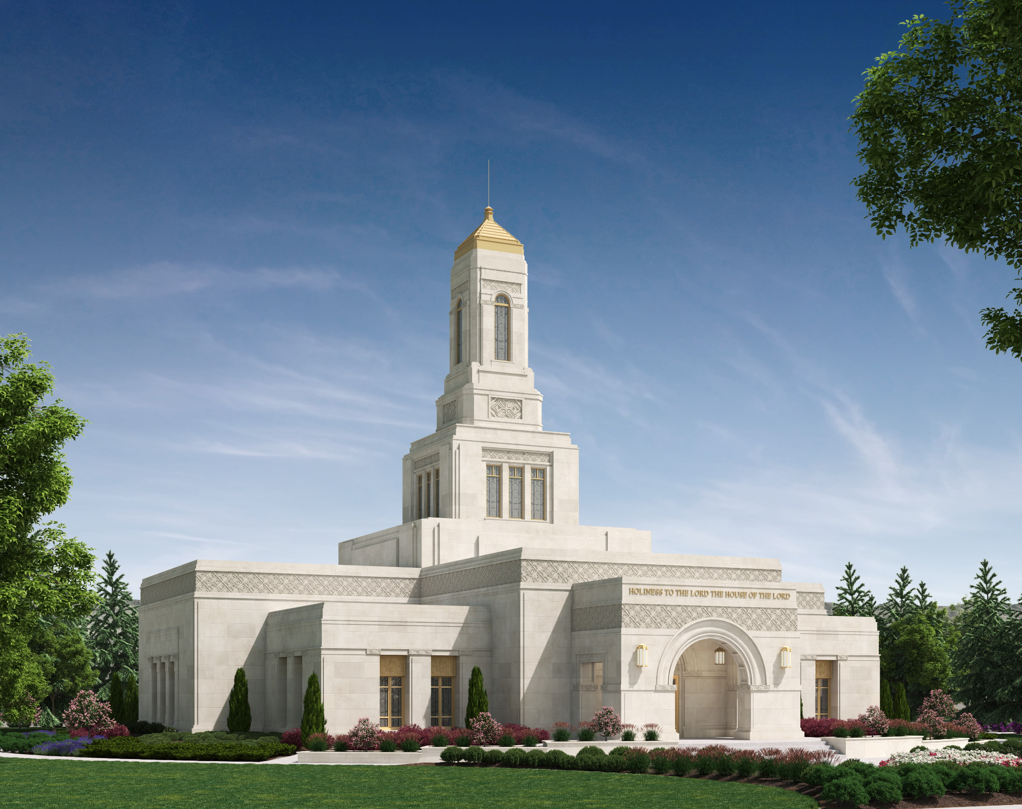 An artist's rendering of the Helena Montana Temple.