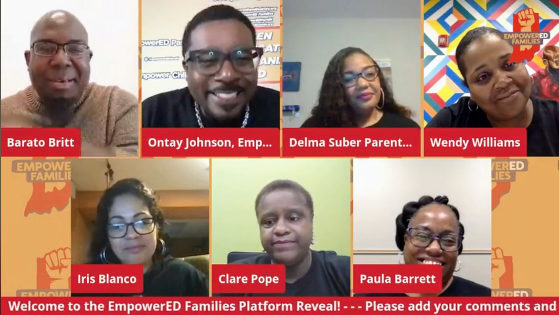 A computer screenshot of EmpowerED Families staff and parent advocates during the group's Platform Reveal online event on May 18.