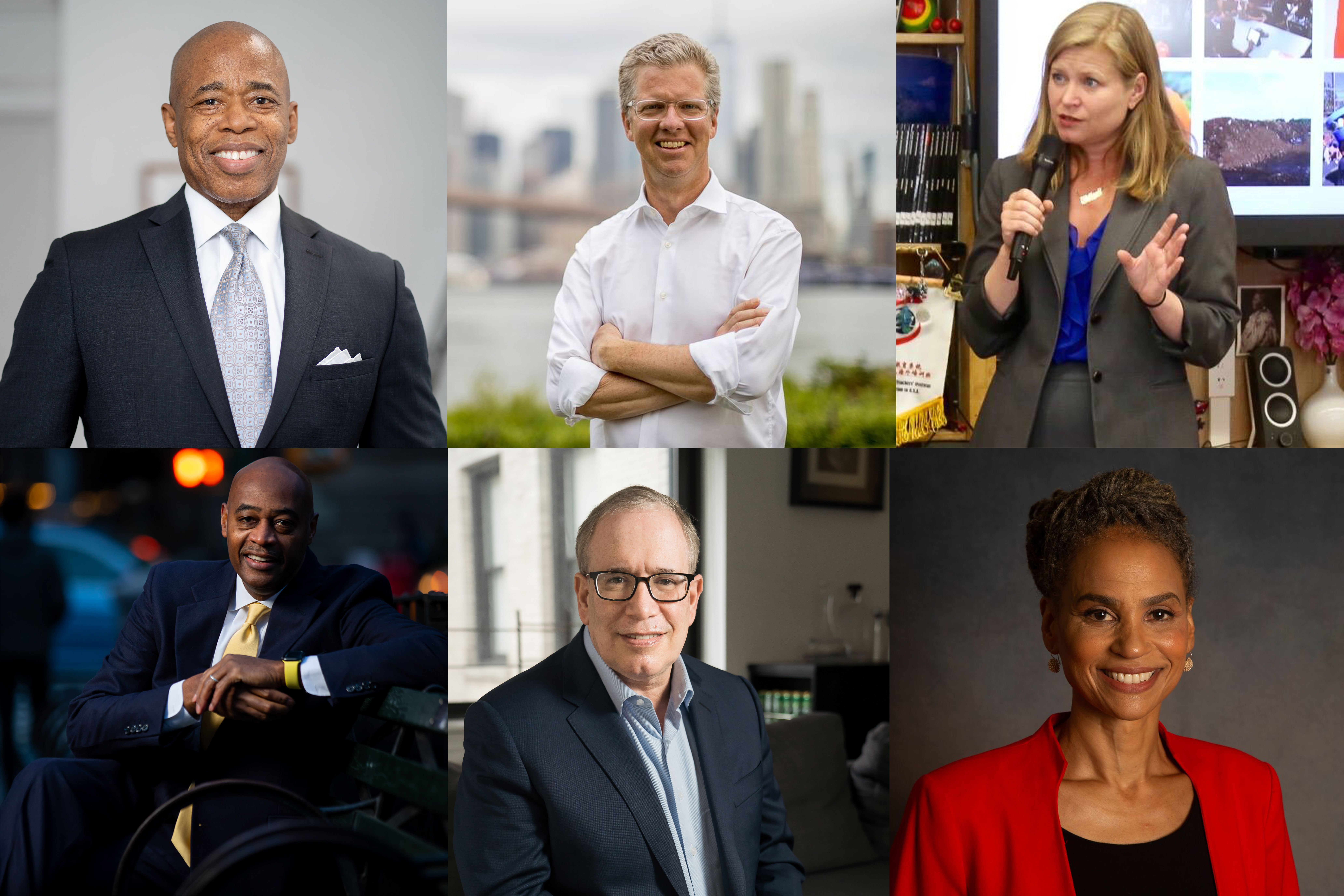 (Clockwise from top left) A collage of portraits of New York City mayoral candidates Eric Adams, Shaun Donovan, Kathryn Garcia, Maya Wiley, Scott Stringer and Ray McGuire.