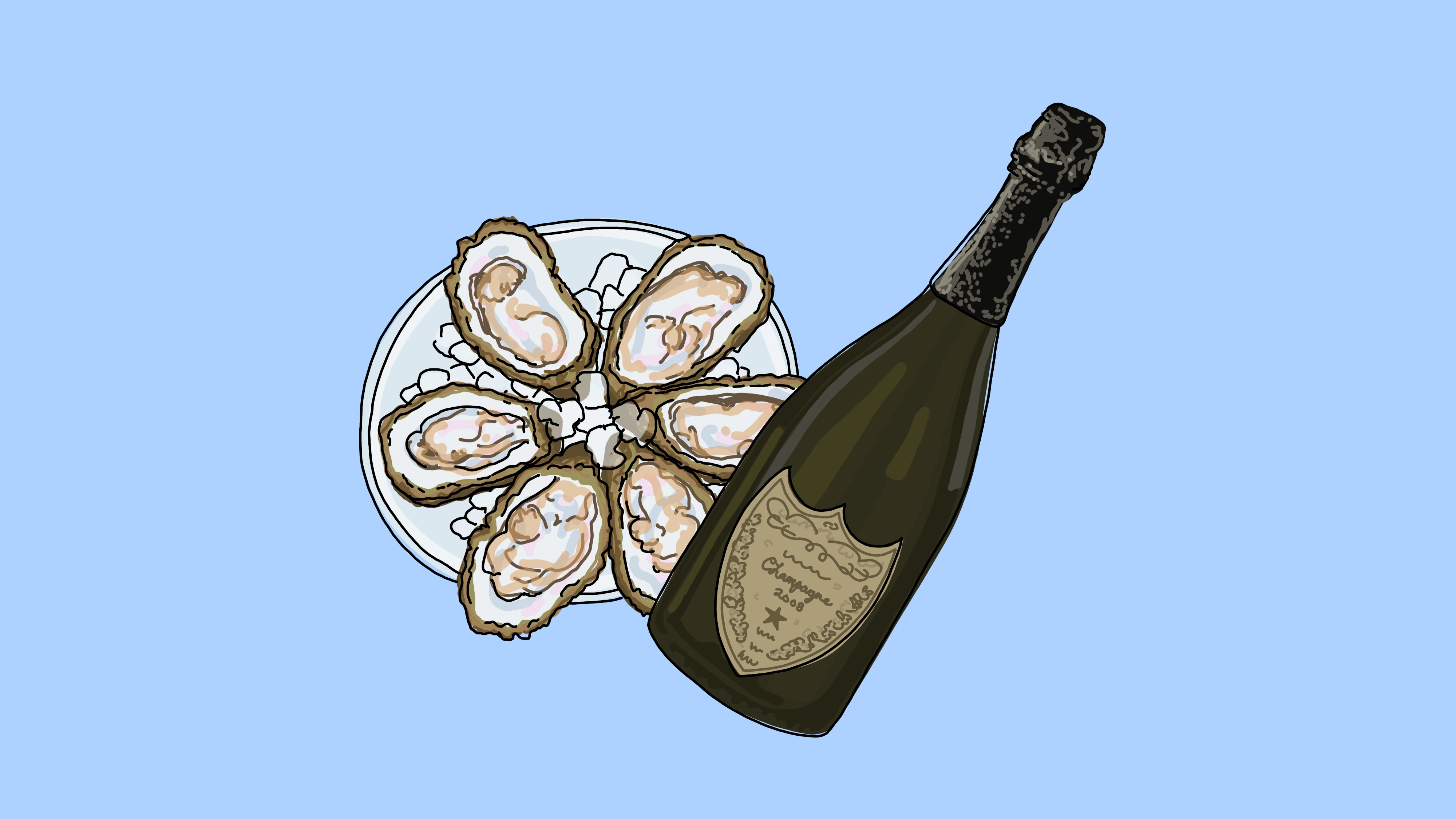 An illustration of a plate of oysters on the half shell and a bottle of Champagne.
