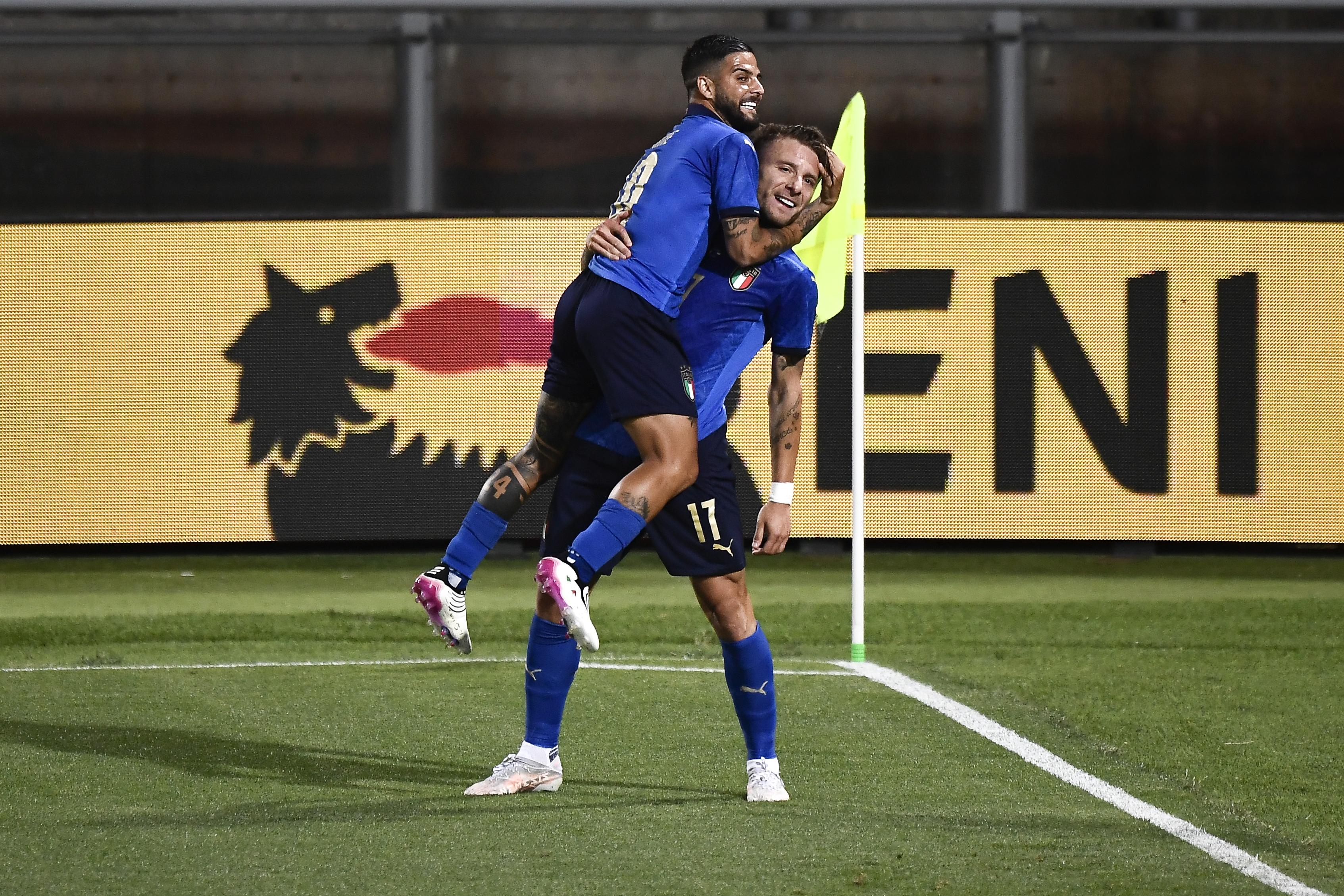 Ciro Immobile (R) celebrates with Lorenzo Insigne - Italy - Euro 2020