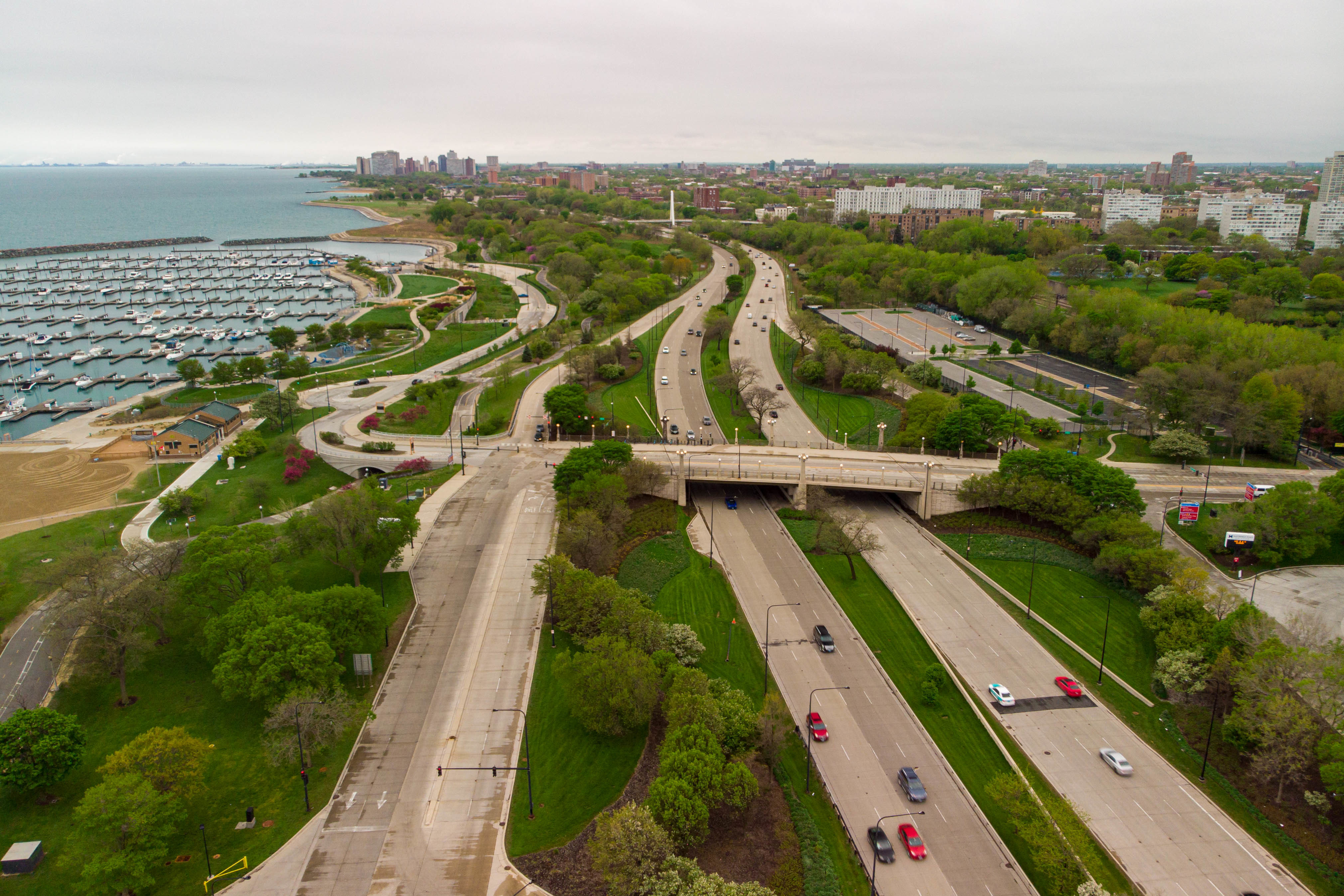 Aerial view looking south of the East 31st Street bridge crossing South Lake Shore Drive, Tuesday afternoon, May 4, 2021.