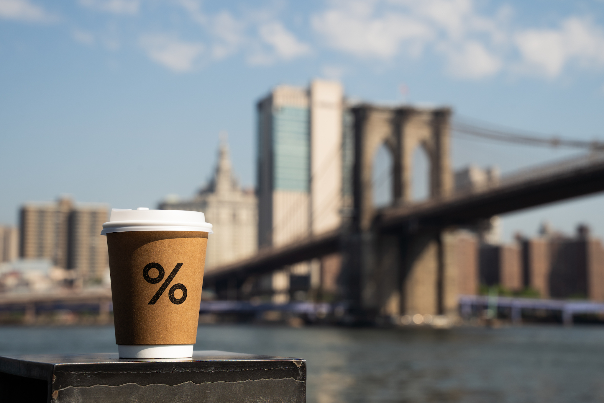A cup of coffee by the Brooklyn Bridge