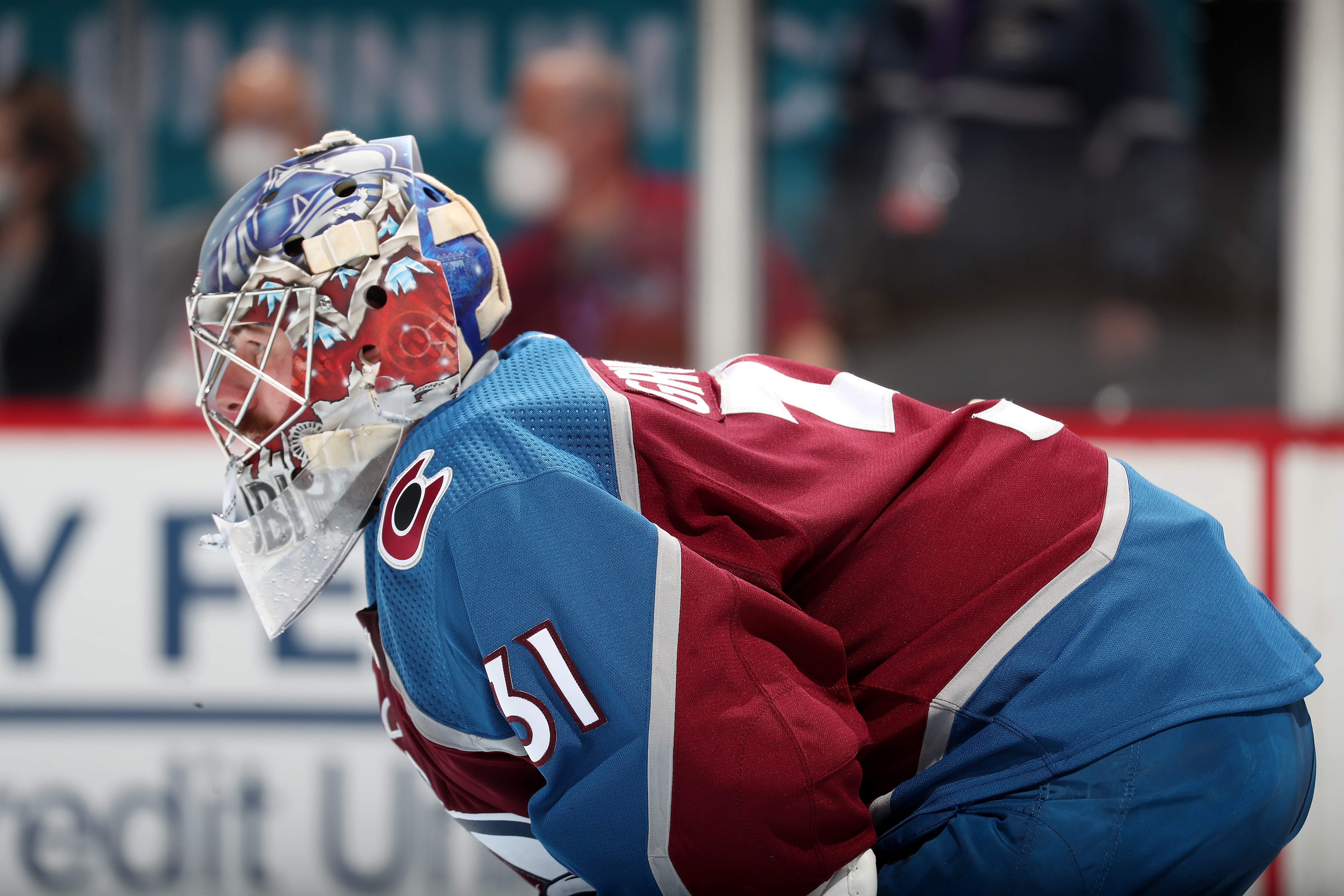 Goaltender Philipp Grubauer #31 of the Colorado Avalanche skates against the Vegas Golden Knights in Game Five of the Second Round of the 2021 Stanley Cup Playoffs at Ball Arena on June 08, 2021 in Denver, Colorado.