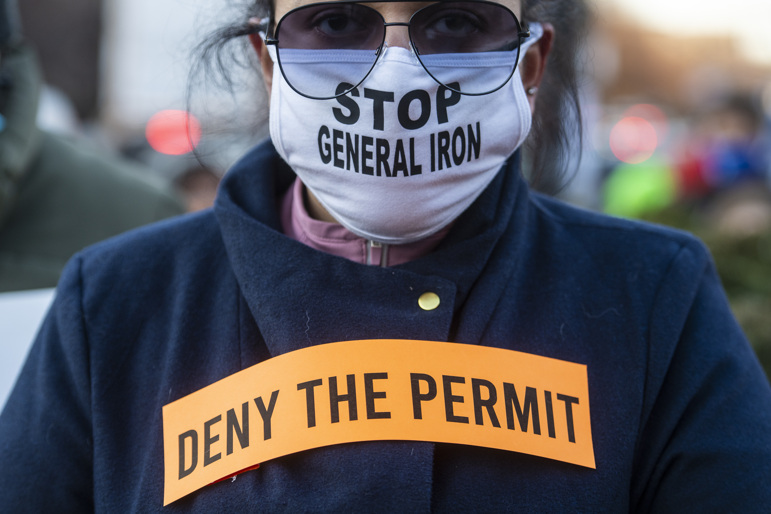Activists protested the relocation of General Iron to the Southeast Side of Chicago at a gathering near Mayor Lori Lightfoot's home in Logan Square, earlier this year.