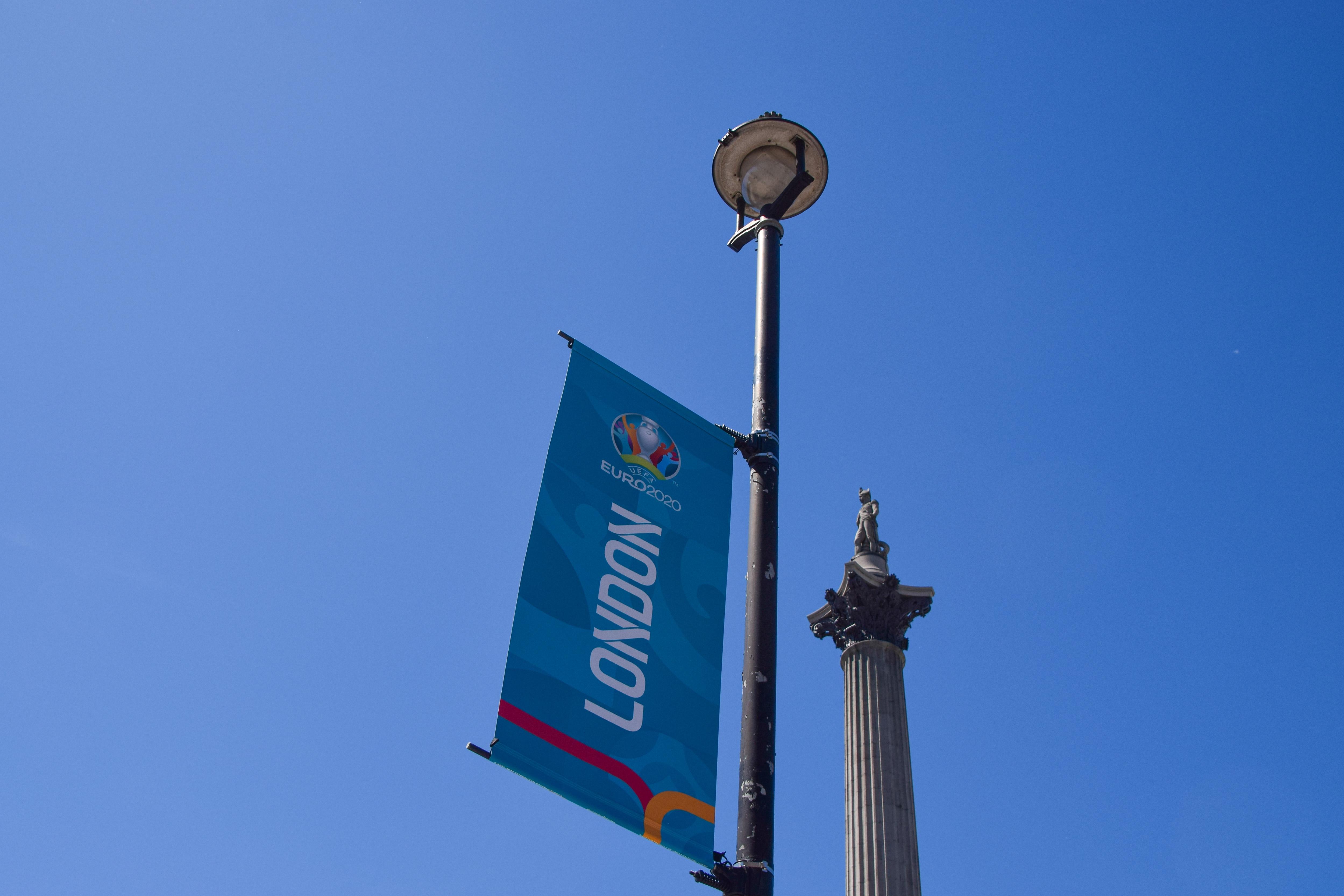 A Euro 2020 banner seen next to Nelson's Column at Trafalgar...