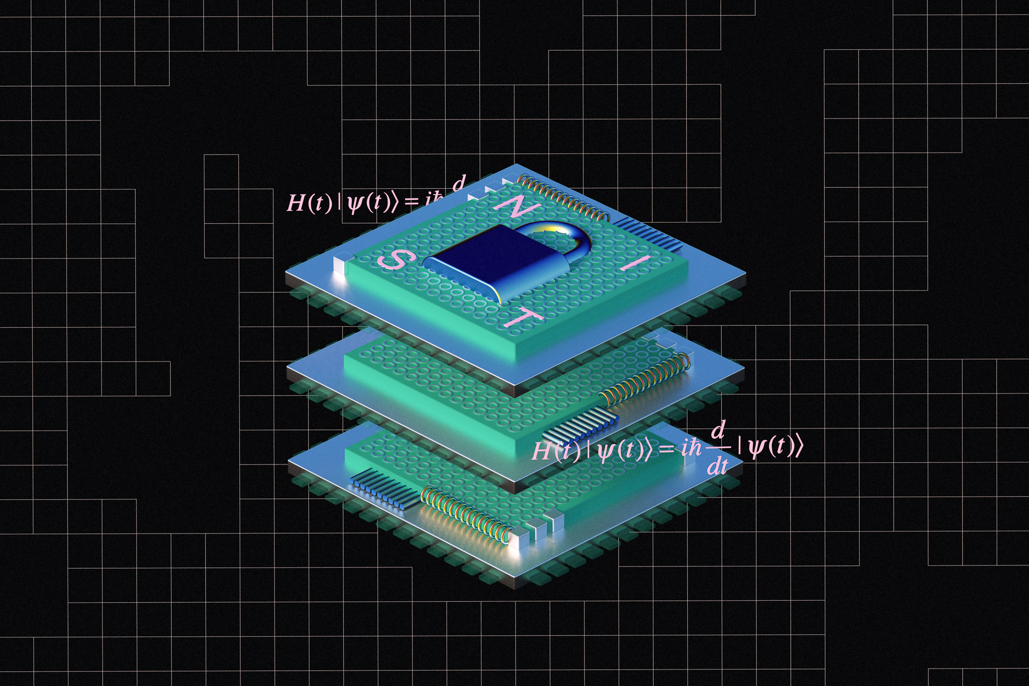 An illustration of three computer chips stacked with the letters NIST and a lock imprinted on them.