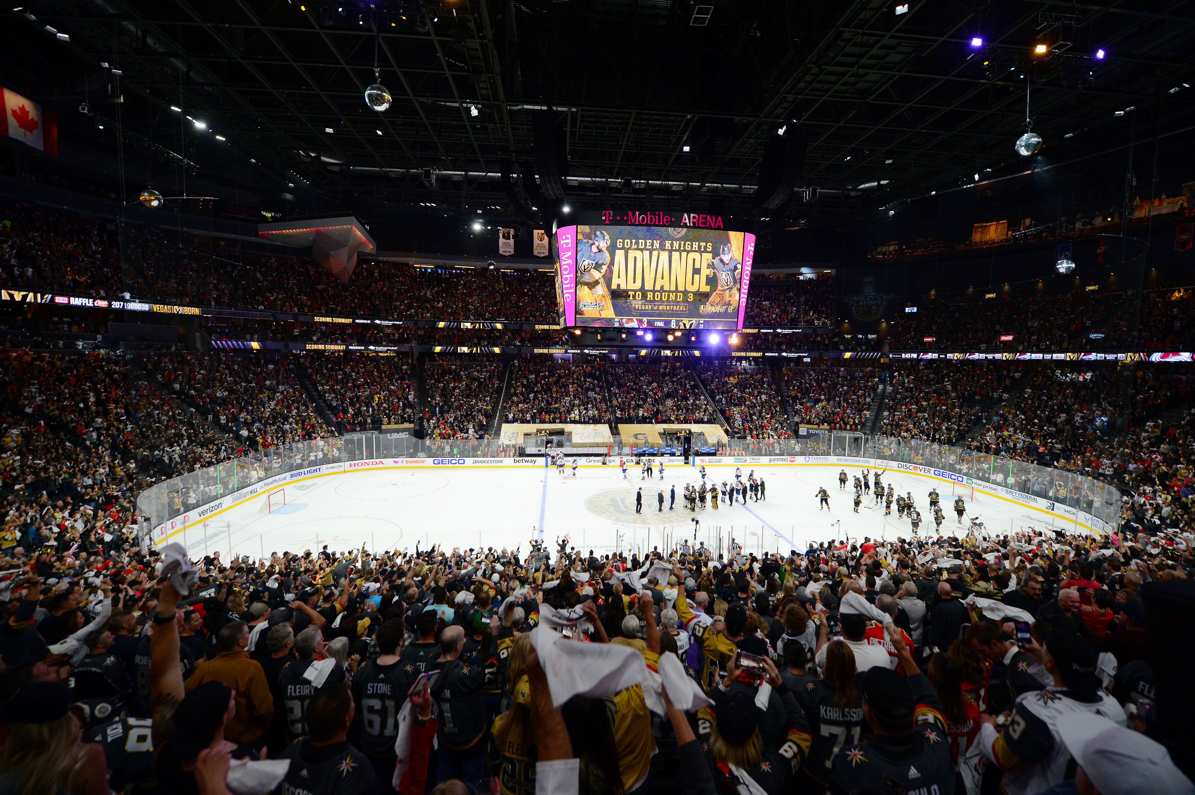 General view of capacity crowd as the Vegas Golden Knights celebrate the 6-3 victory against the Colorado Avalanche following game six of the second round of the 2021 Stanley Cup Playoffs at T-Mobile Arena.
