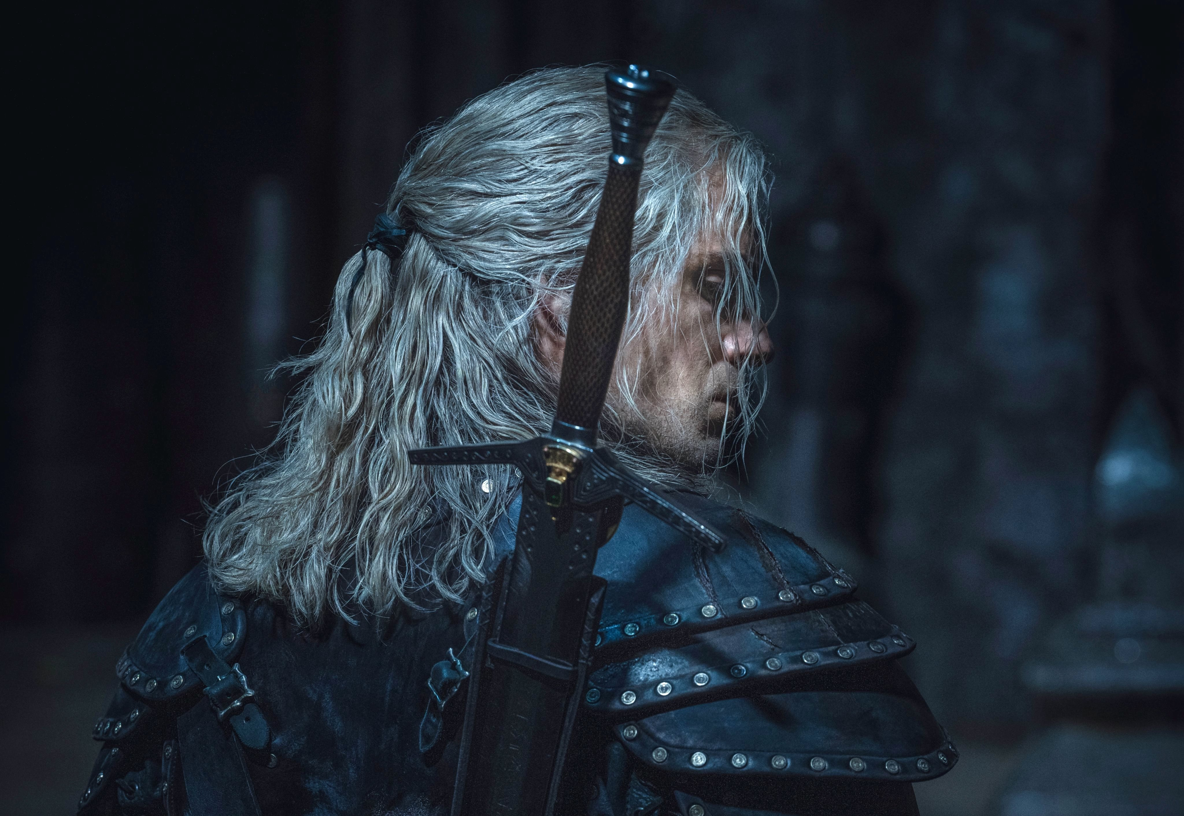 A back shot of Geralt from Netflix's The Witcher live-action series
