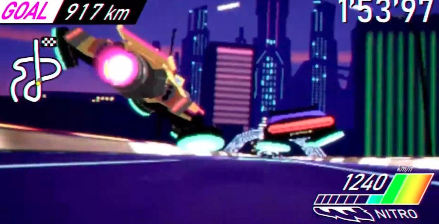 Captain Laserhawk: A Blood Dragon Remix: Two cars race down a futuristic street