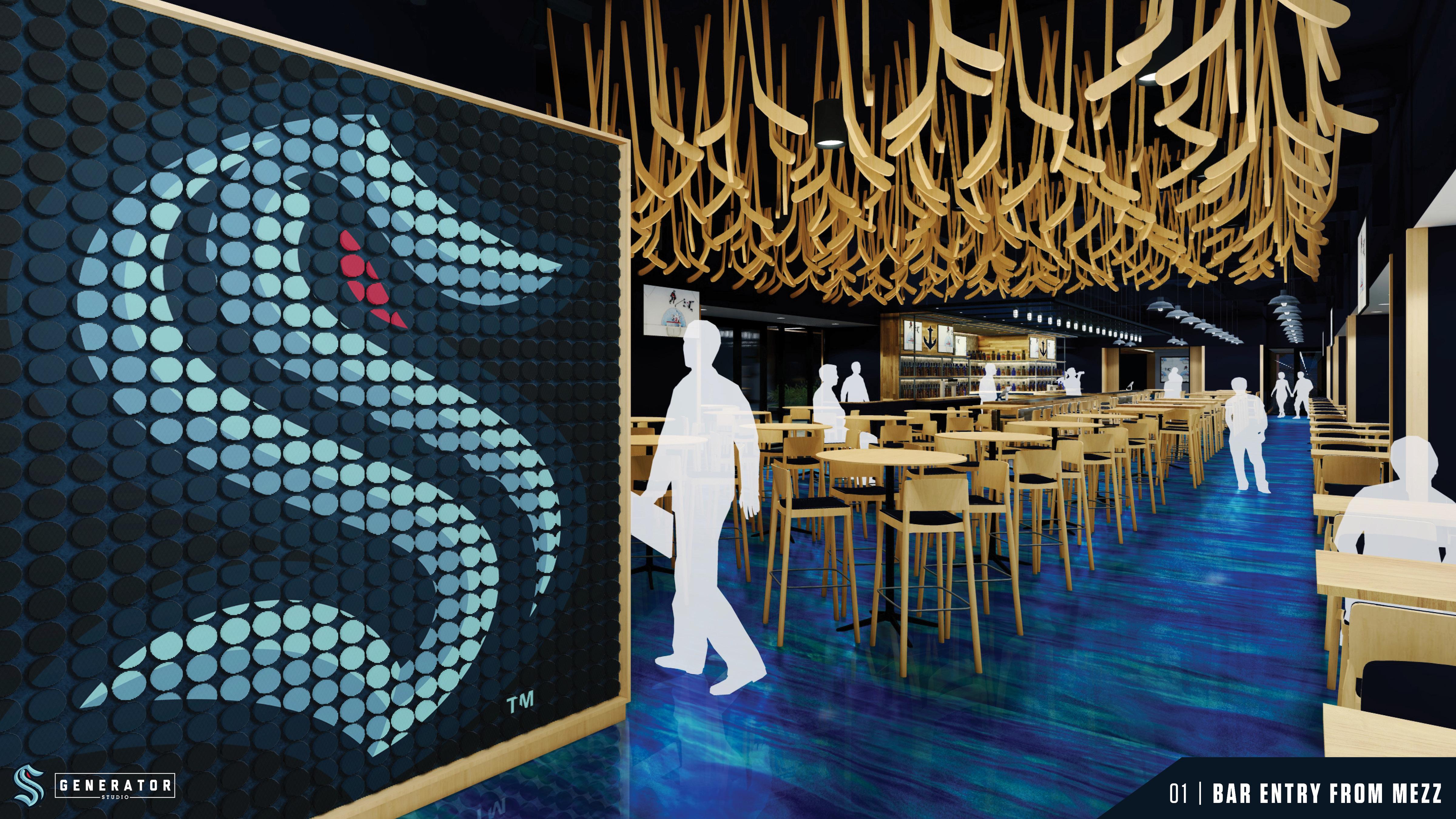 海怪酒吧的电脑效果图;烧烤架的左边是两支球队的蓝色标识,天花板上挂着曲棍球棒,餐厅里到处都是凳子
