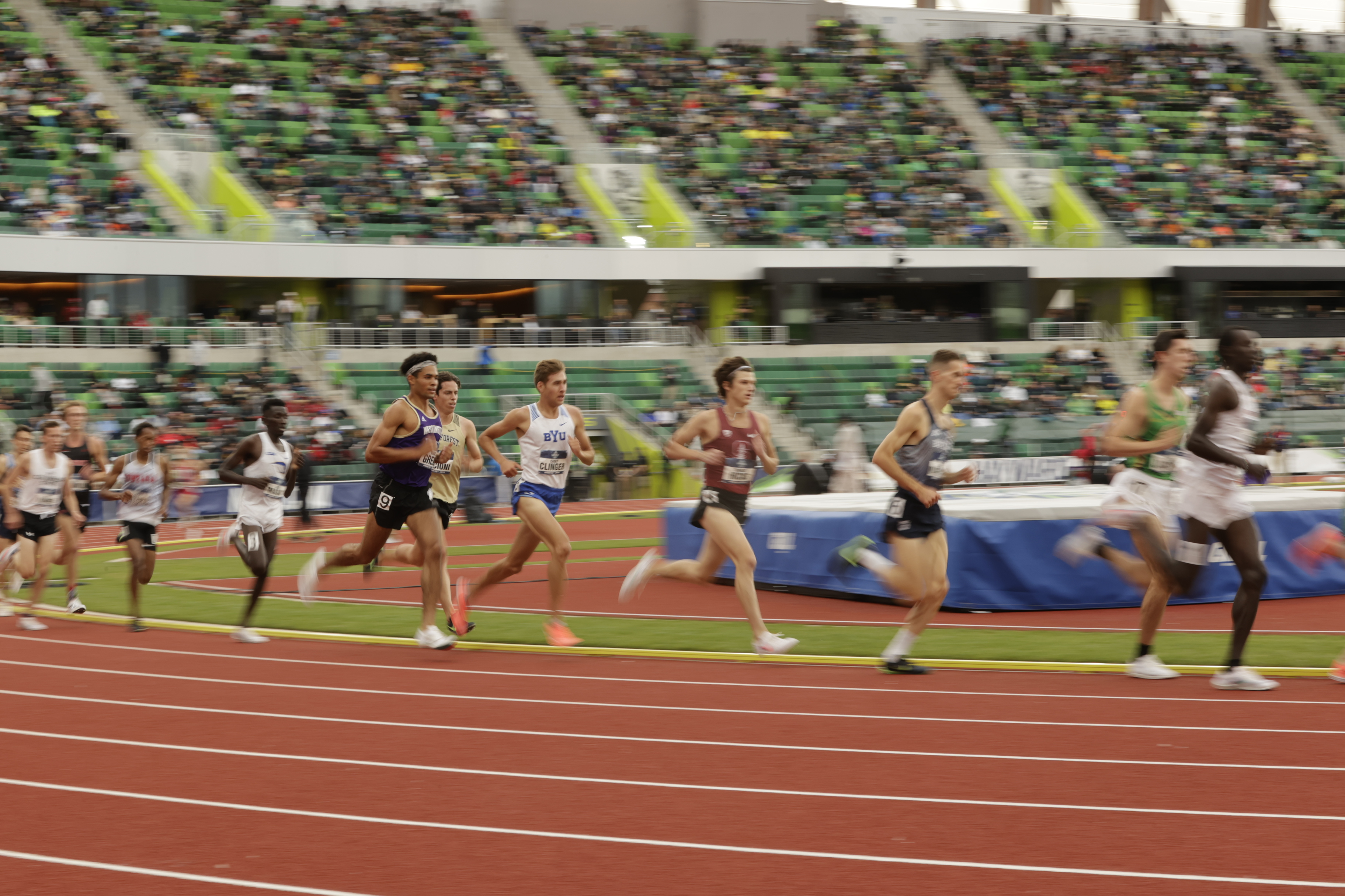 Runners compete during the NCAA Outdoor Track and Field Championships in Eugene, Oregon.