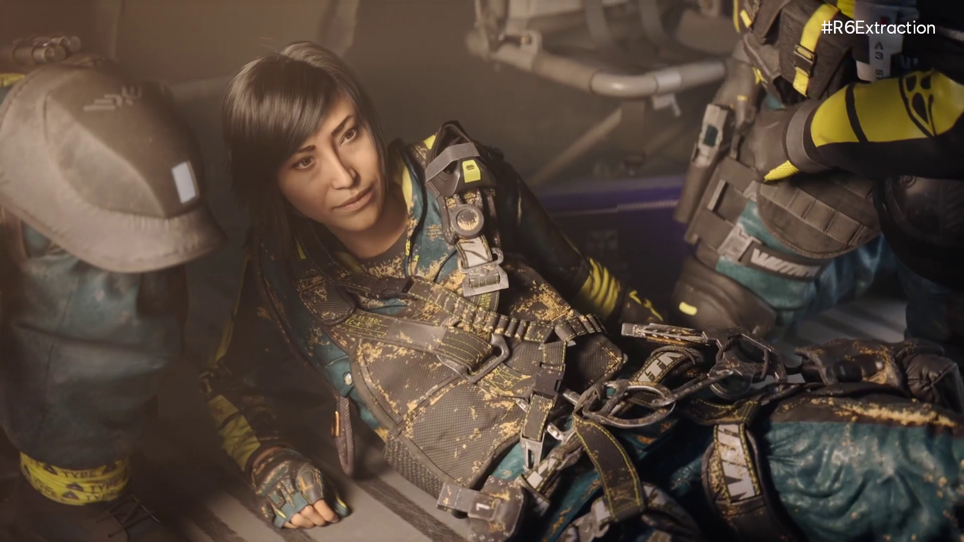 a Rainbow Six Extraction operator sitting up on the floor of a helicopter looking at her squadmates