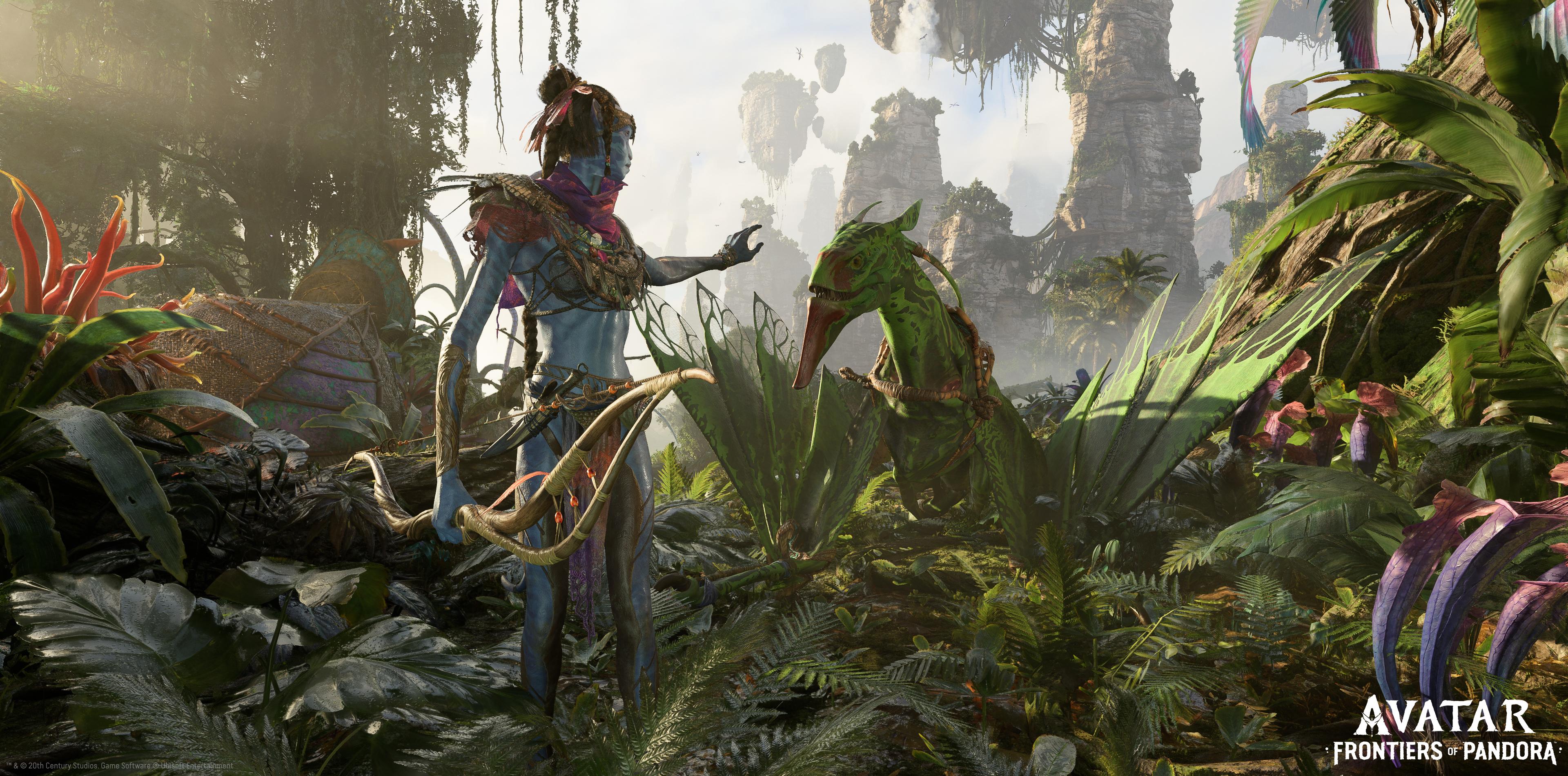 A female Na'vi reaches out toward a reptile creature.