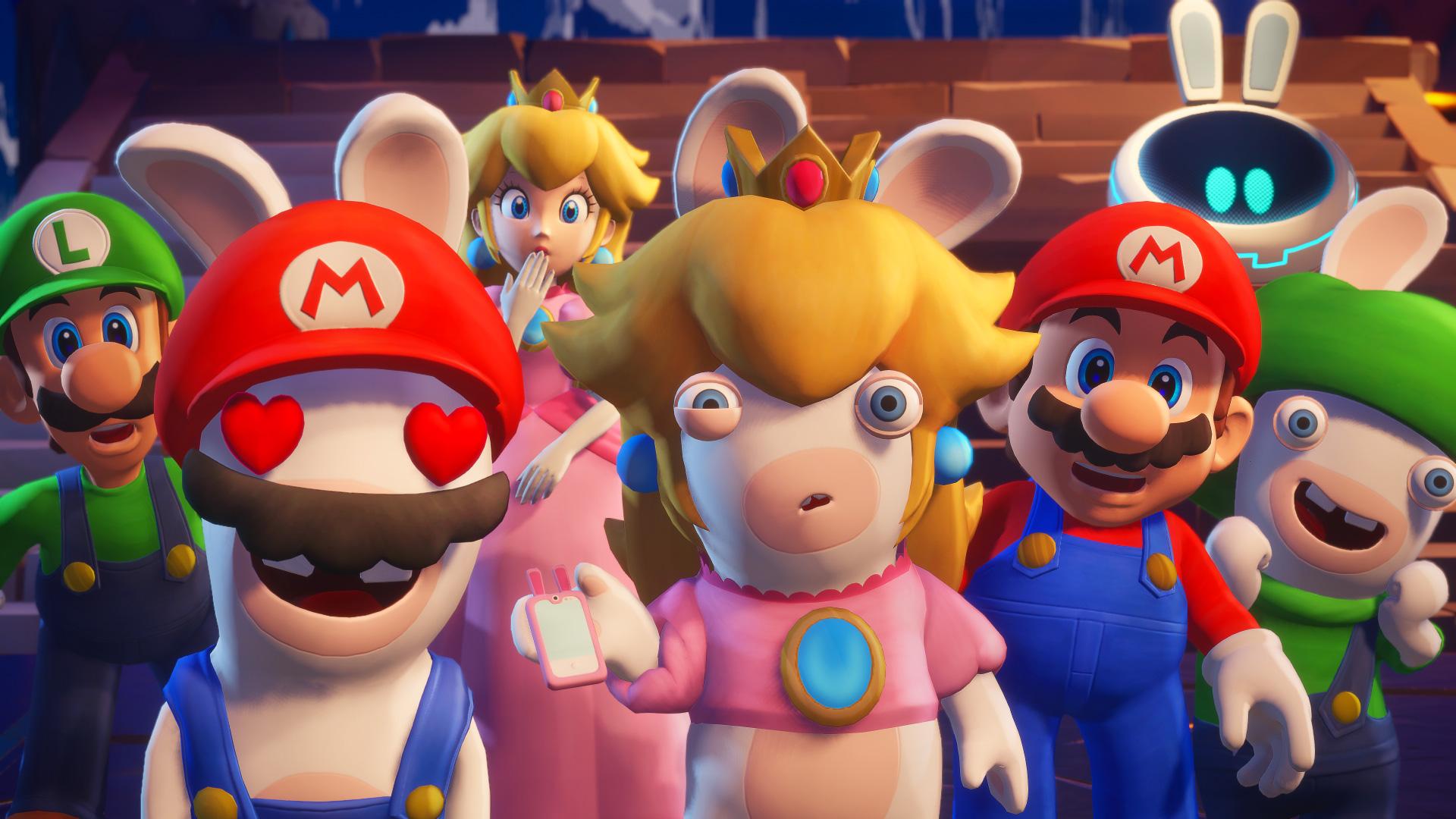 a group shot from Mario + Rabbids Sparks of Hope featuring Luigi, Rabbid Mario, Peach, Rabbid Peach, Mario, and Rabbid Luigi