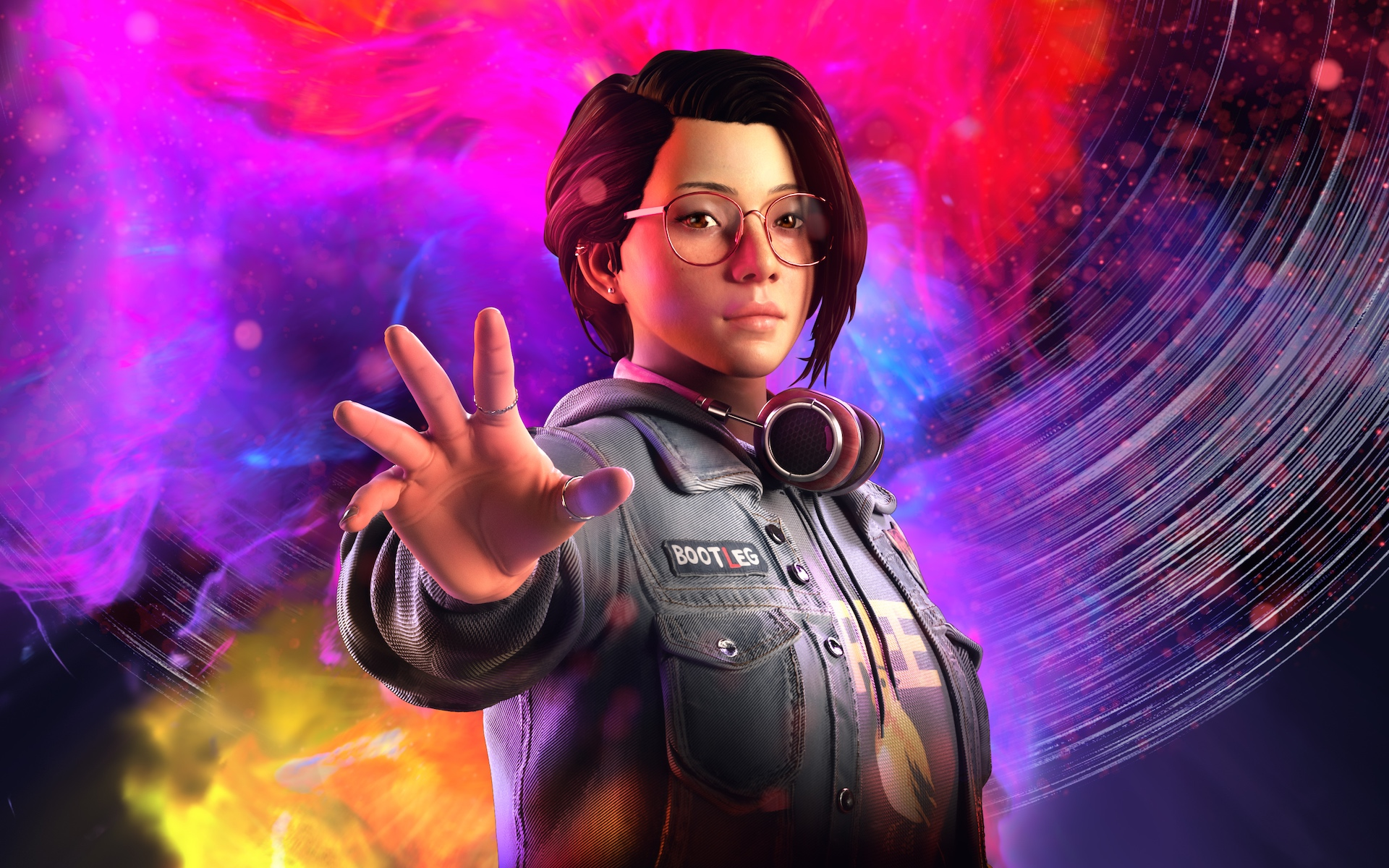 Alex Chen from Life is Strange: True Colors with a rainbow-colored aura behind her