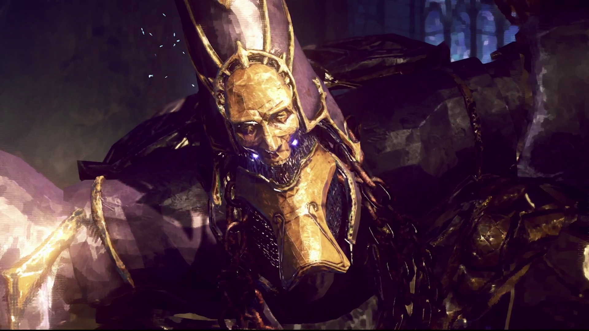 a giant man in a giant headdress and armor in Babylon's Fall