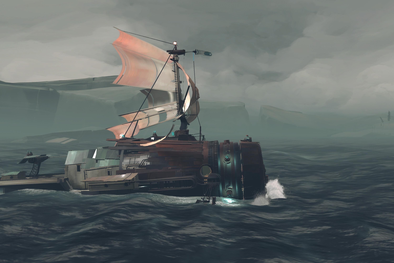 A makeshift boat floats atop gray waves.